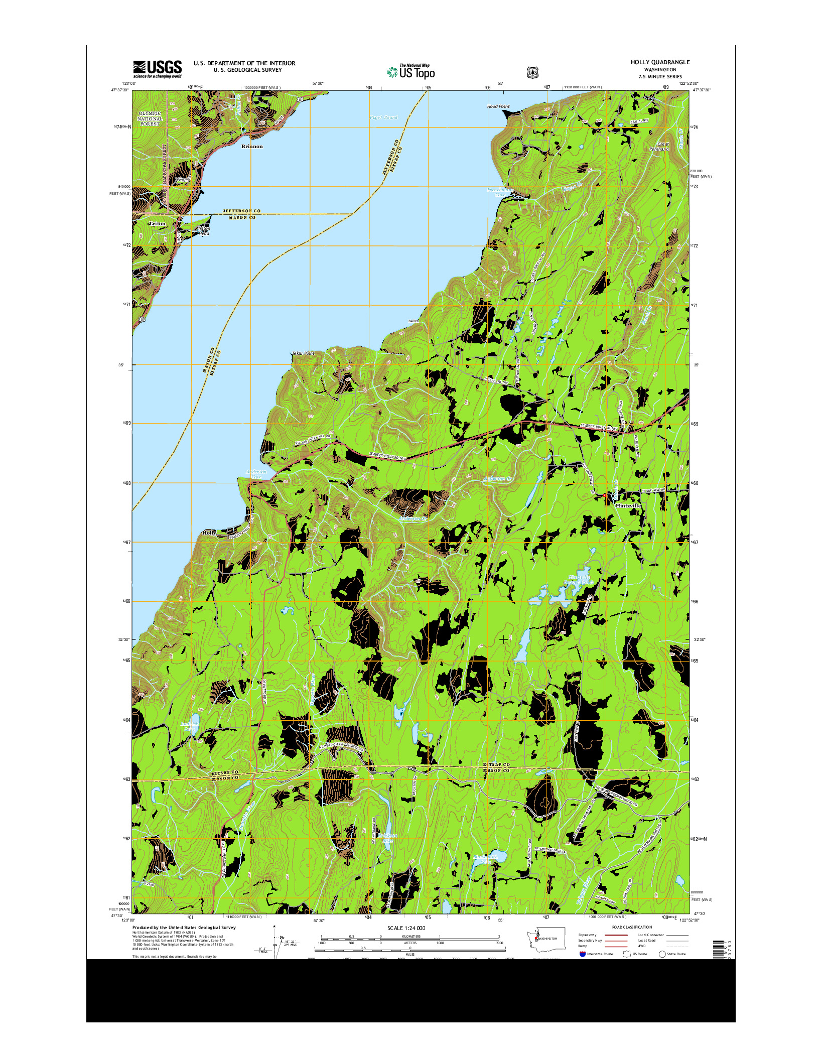 USGS US TOPO 7.5-MINUTE MAP FOR HOLLY, WA 2014