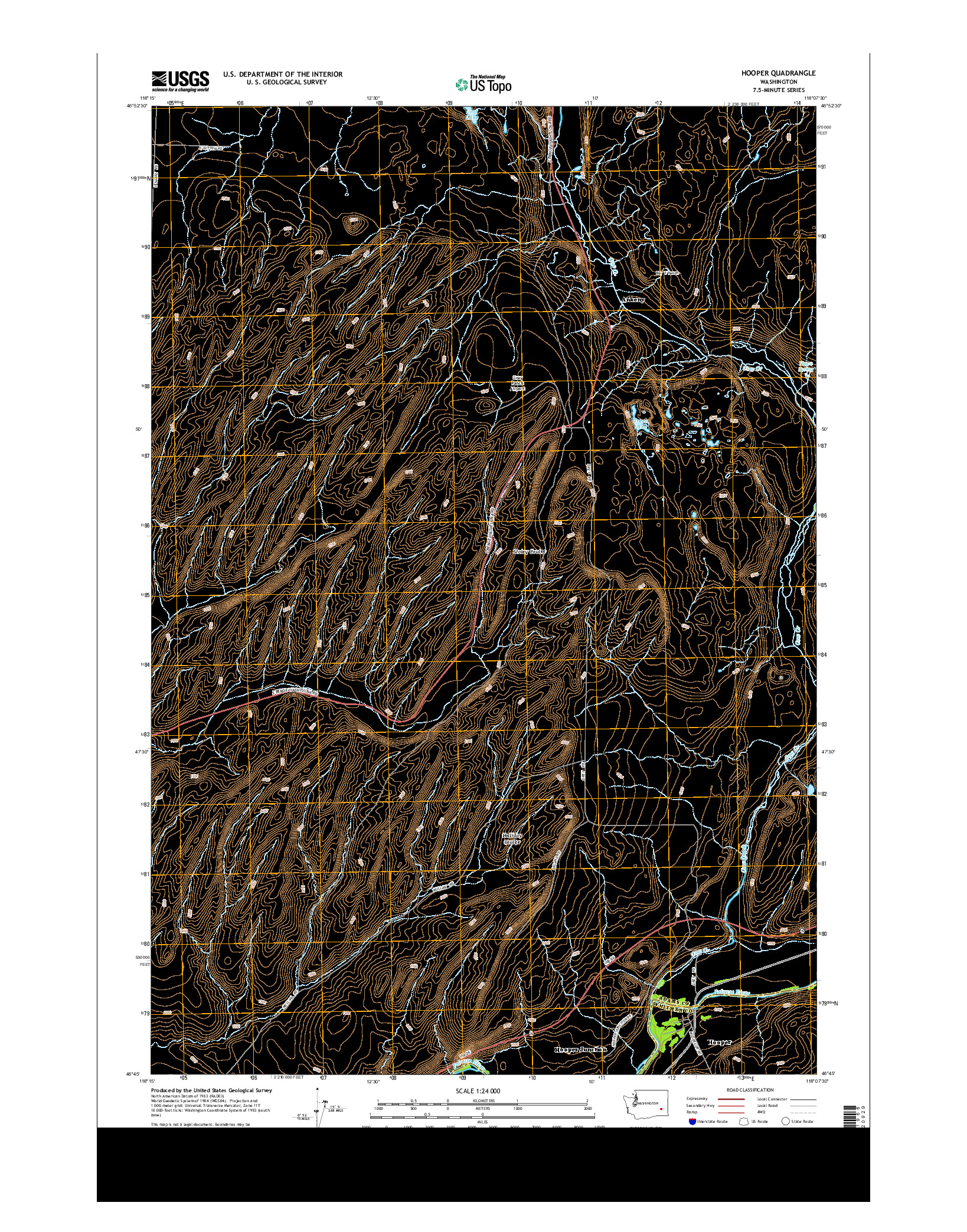 USGS US TOPO 7.5-MINUTE MAP FOR HOOPER, WA 2014