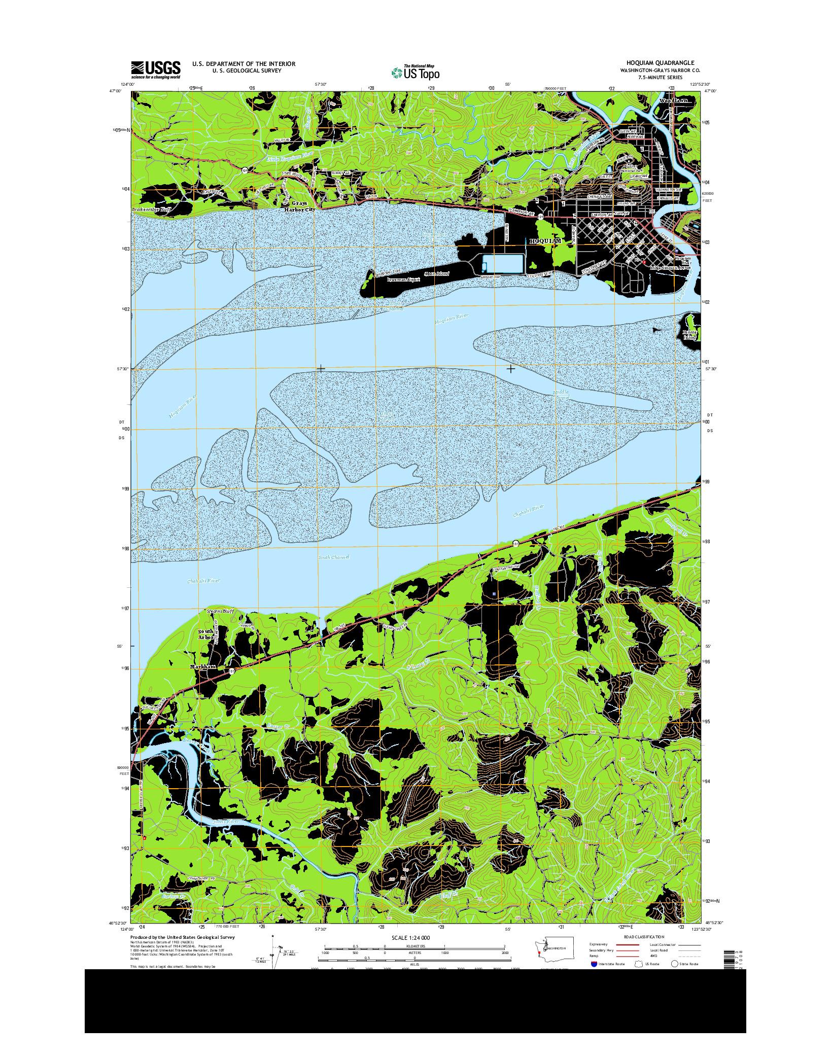 USGS US TOPO 7.5-MINUTE MAP FOR HOQUIAM, WA 2014
