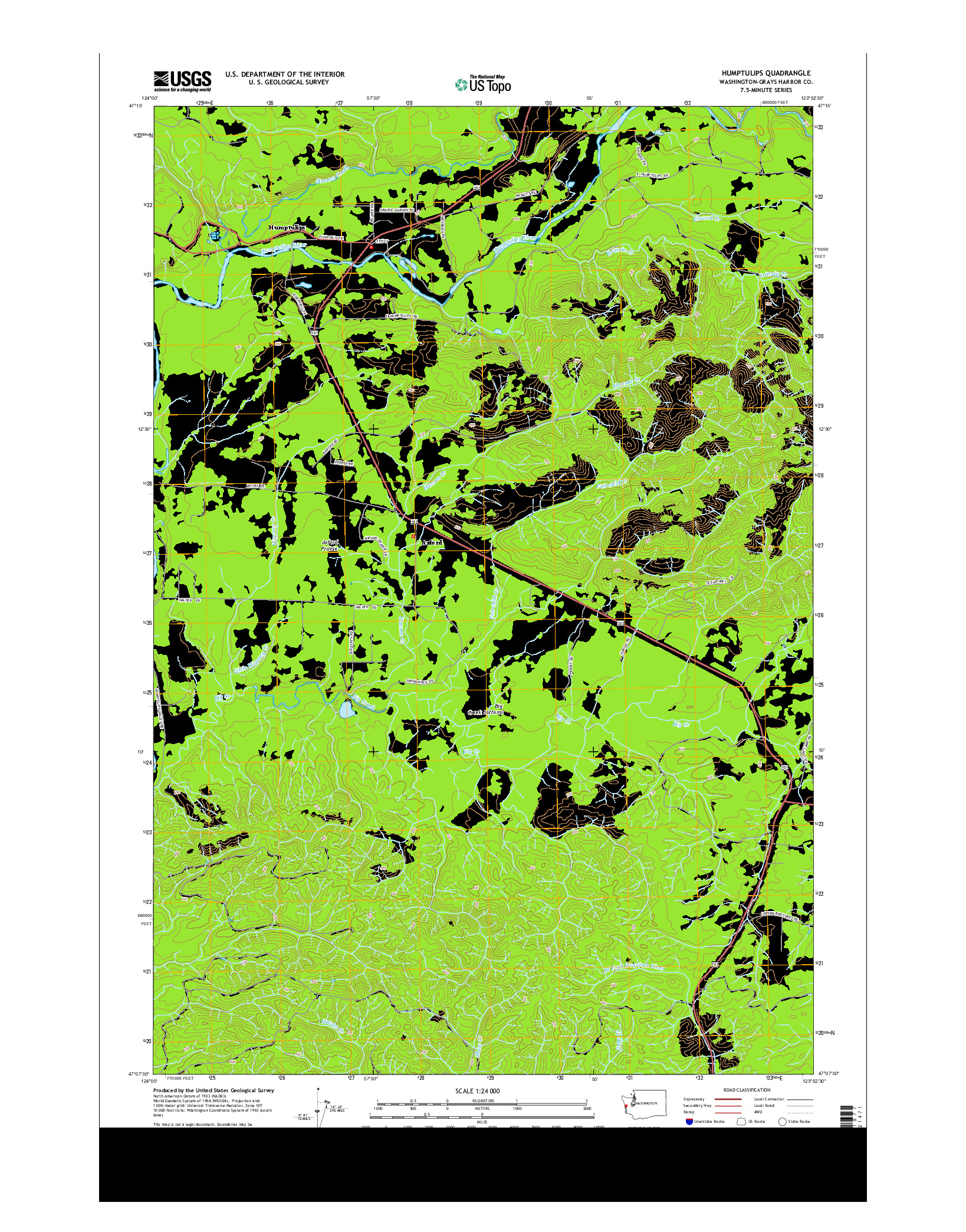 USGS US TOPO 7.5-MINUTE MAP FOR HUMPTULIPS, WA 2014