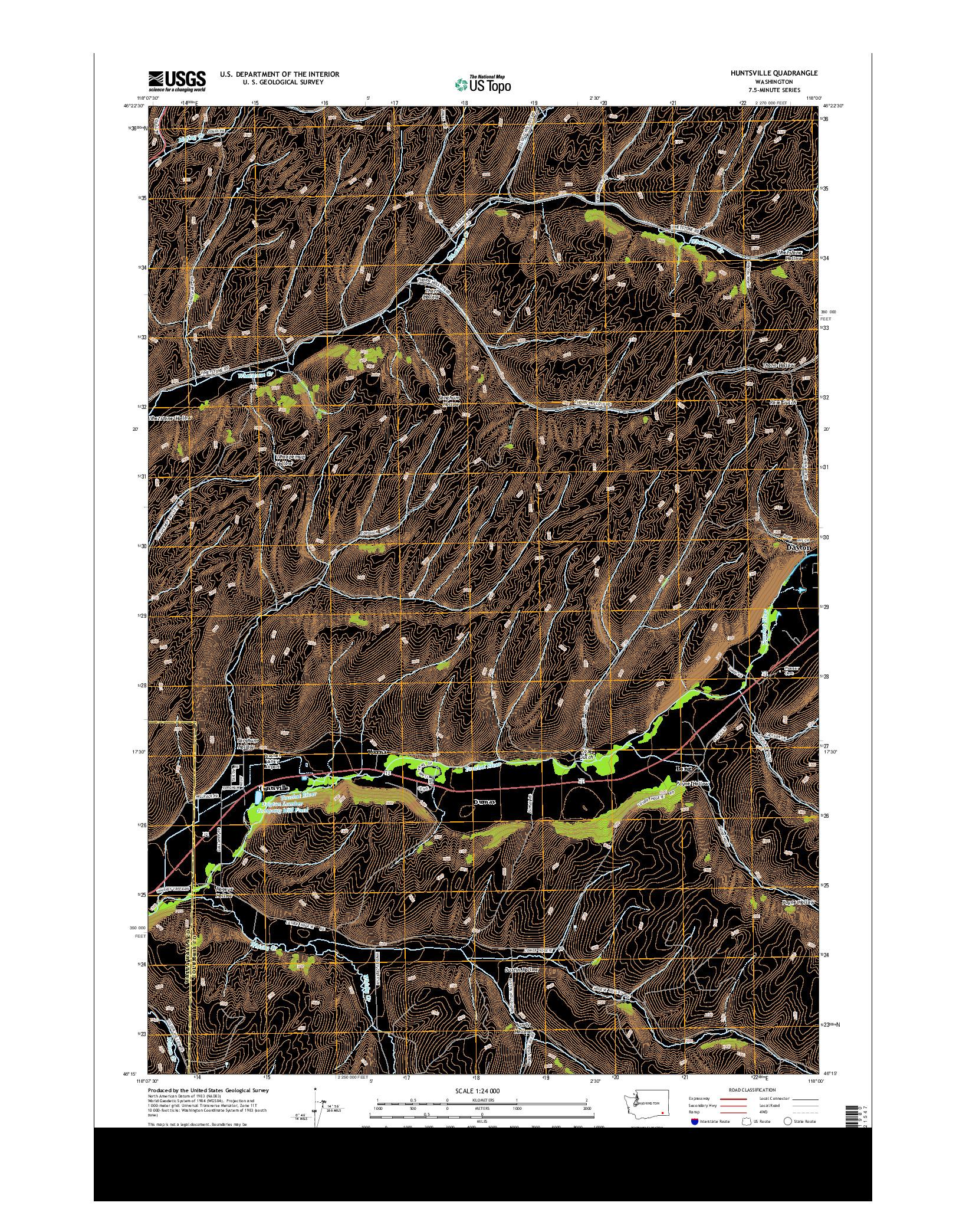 USGS US TOPO 7.5-MINUTE MAP FOR HUNTSVILLE, WA 2014