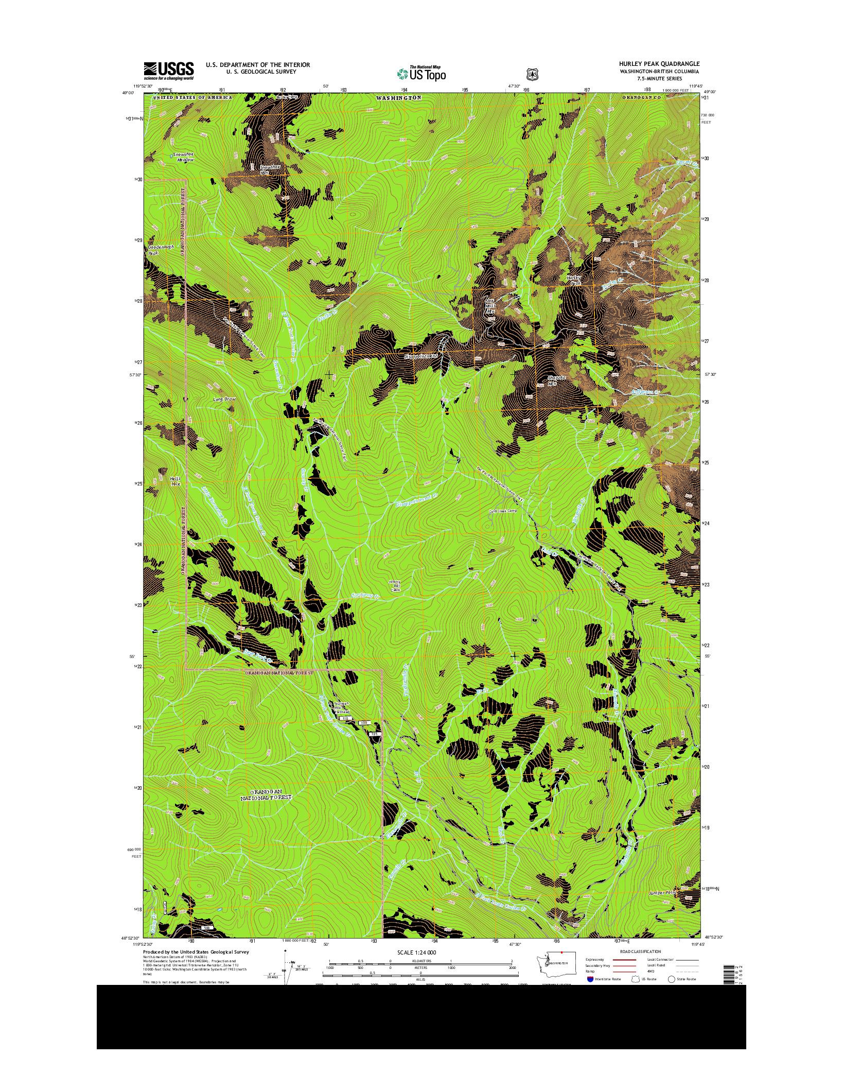 USGS US TOPO 7.5-MINUTE MAP FOR HURLEY PEAK, WA-BC 2014
