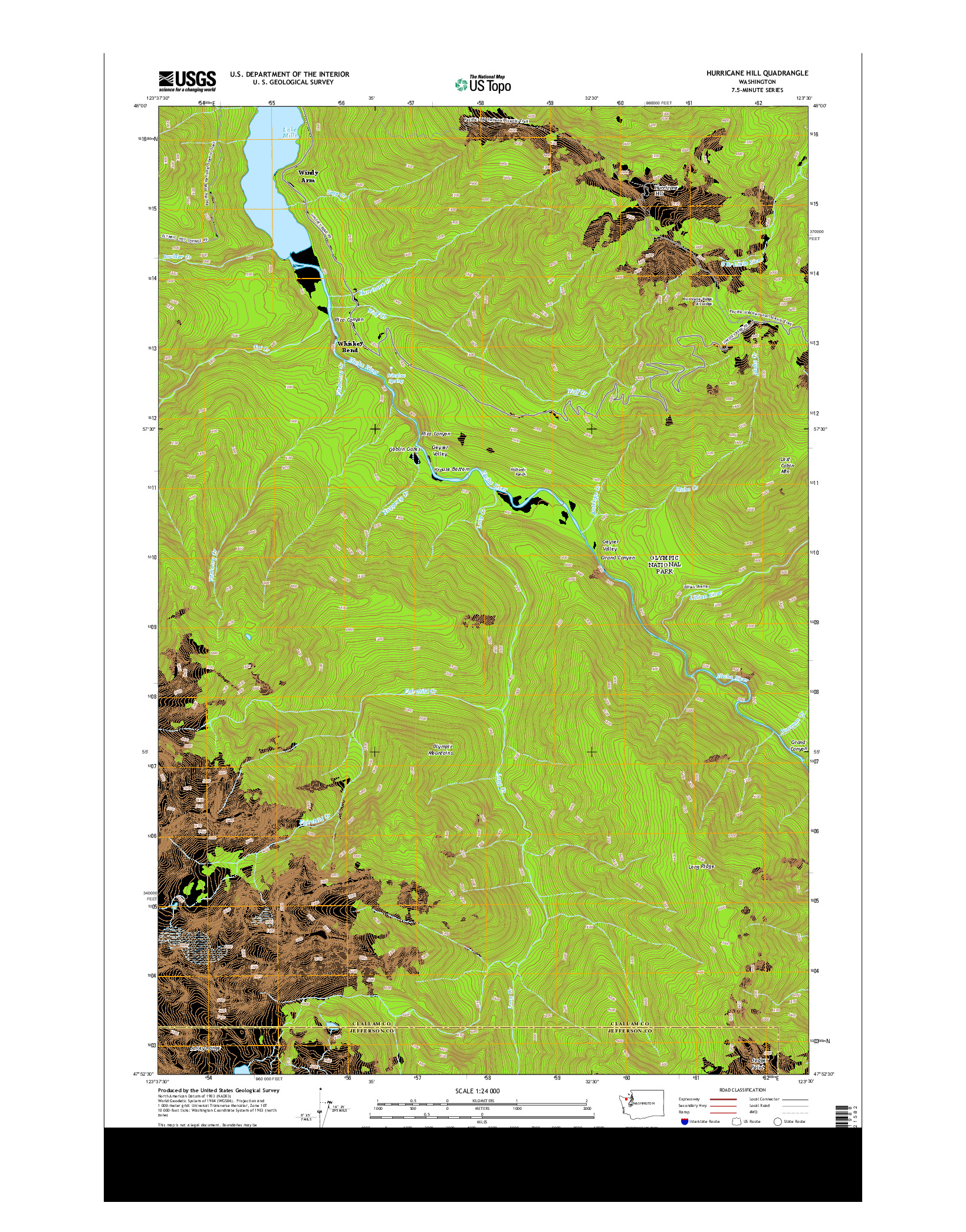 USGS US TOPO 7.5-MINUTE MAP FOR HURRICANE HILL, WA 2014