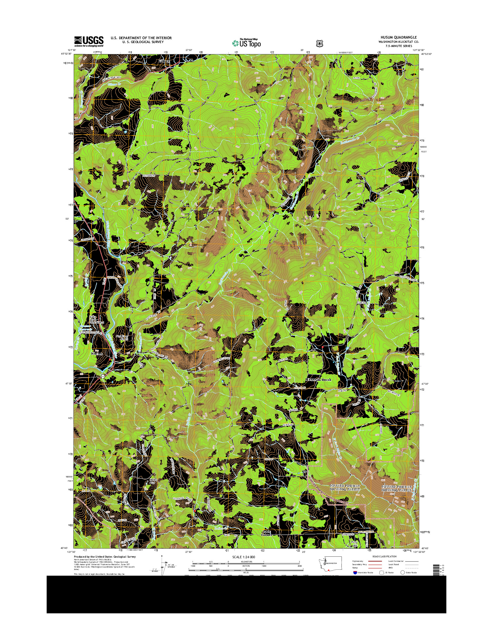 USGS US TOPO 7.5-MINUTE MAP FOR HUSUM, WA 2014