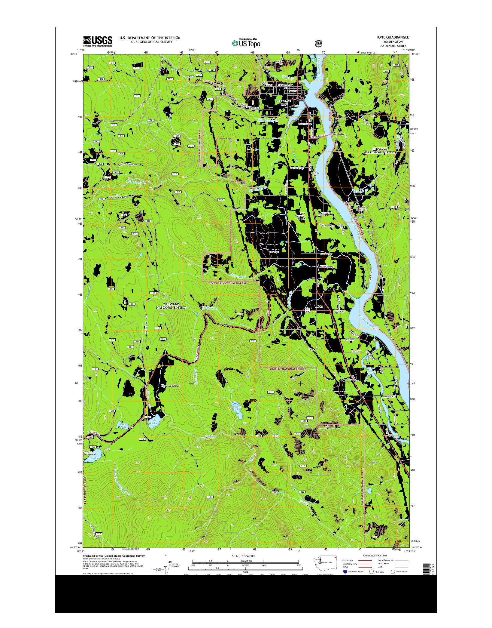 USGS US TOPO 7.5-MINUTE MAP FOR IONE, WA 2014