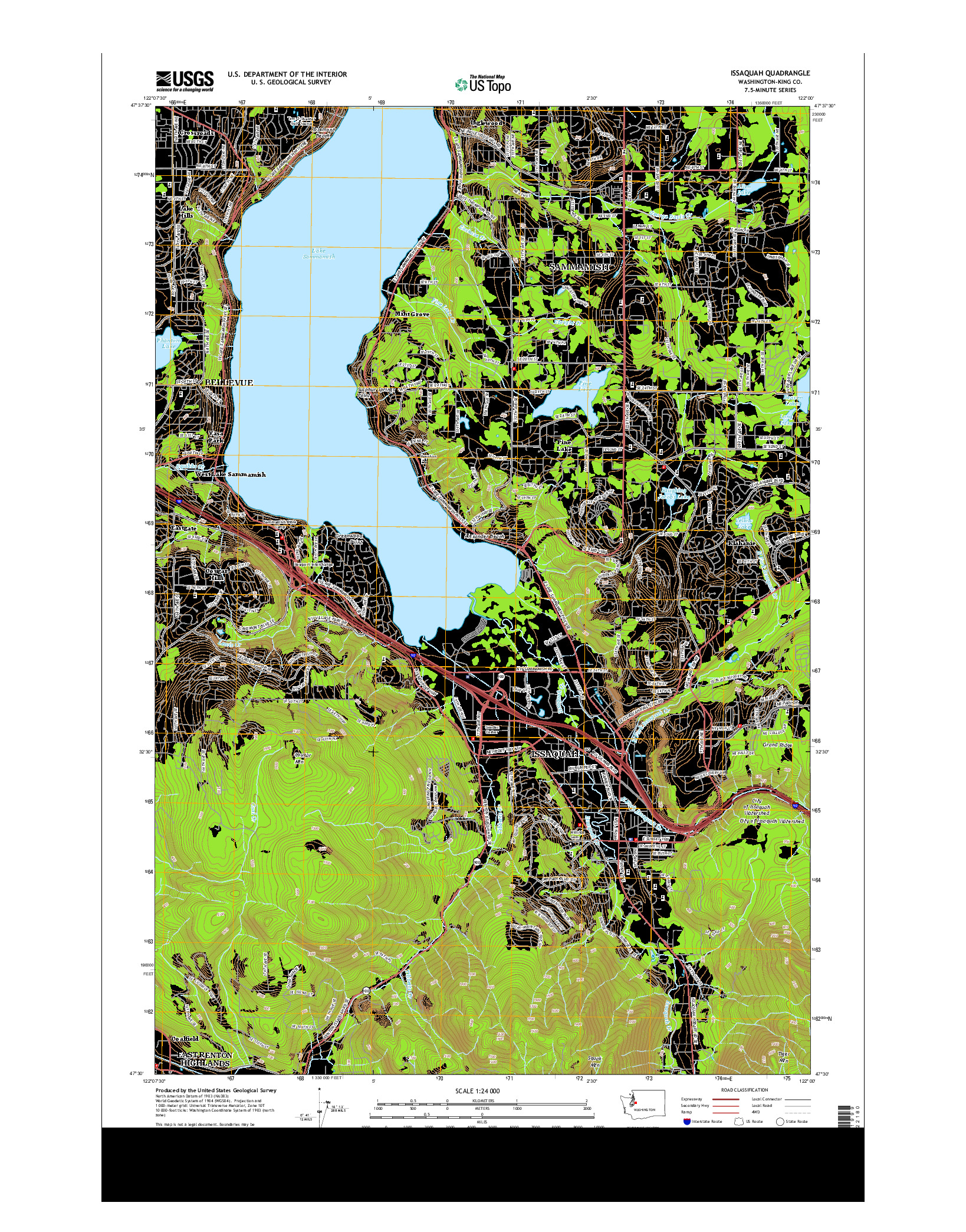 USGS US TOPO 7.5-MINUTE MAP FOR ISSAQUAH, WA 2014