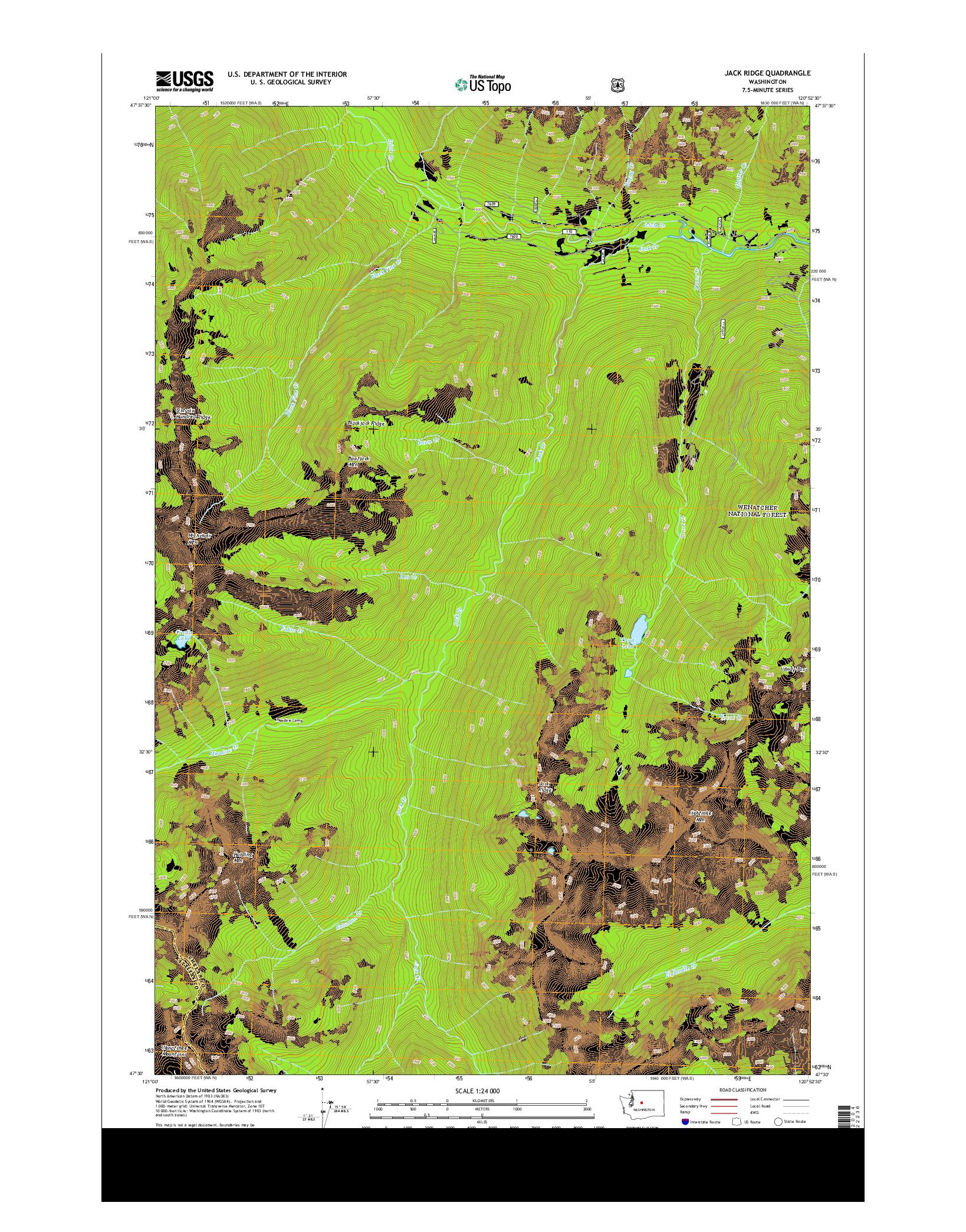 USGS US TOPO 7.5-MINUTE MAP FOR JACK RIDGE, WA 2014