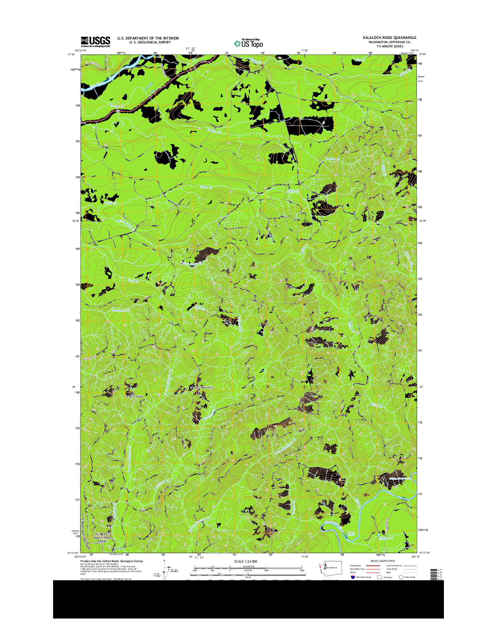 USGS US TOPO 7.5-MINUTE MAP FOR KALALOCH RIDGE, WA 2014