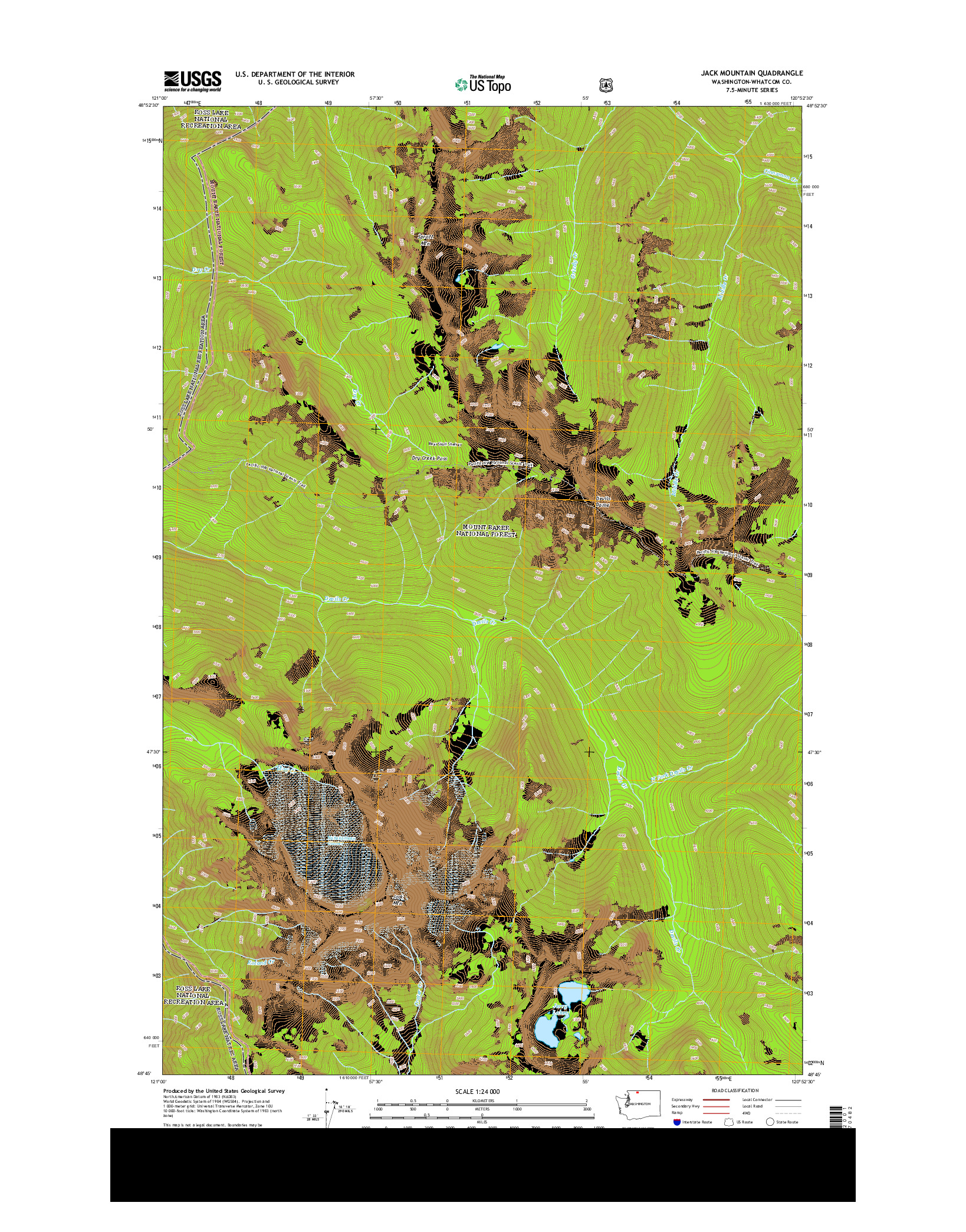 USGS US TOPO 7.5-MINUTE MAP FOR JACK MOUNTAIN, WA 2014