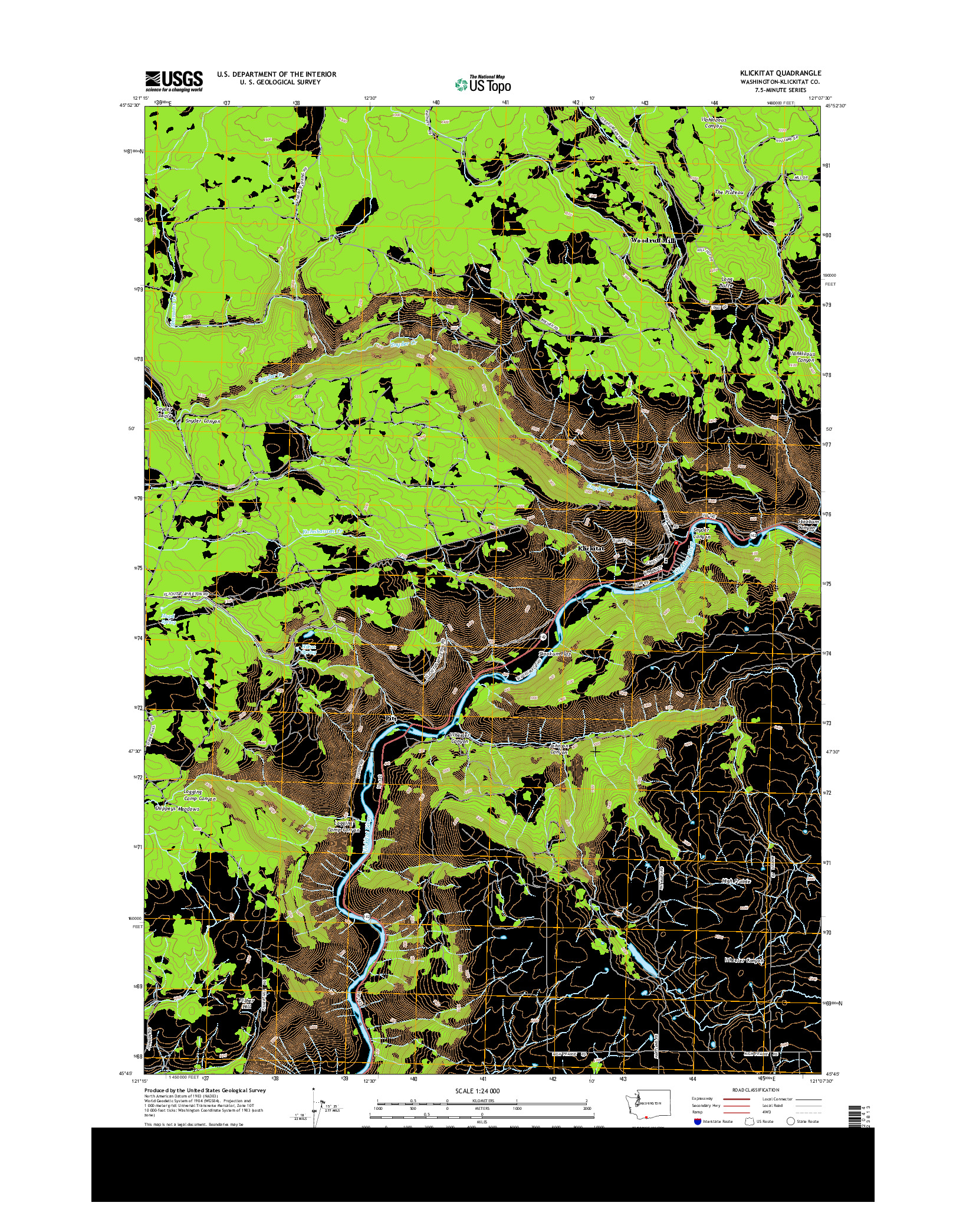 USGS US TOPO 7.5-MINUTE MAP FOR KLICKITAT, WA 2014