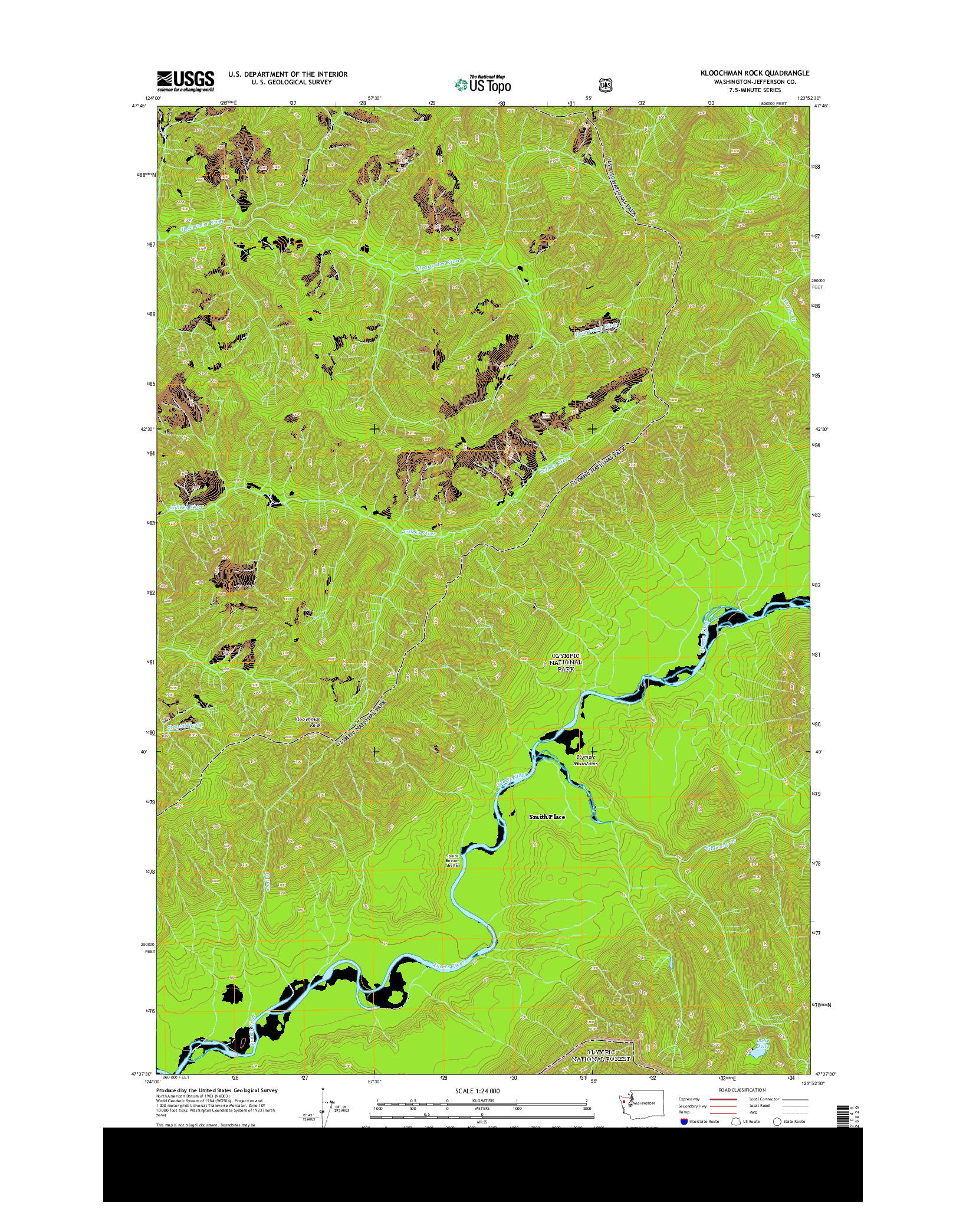 USGS US TOPO 7.5-MINUTE MAP FOR KLOOCHMAN ROCK, WA 2014