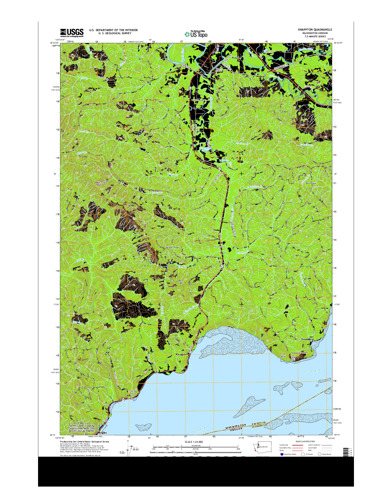 USGS US TOPO 7.5-MINUTE MAP FOR KNAPPTON, WA-OR 2014