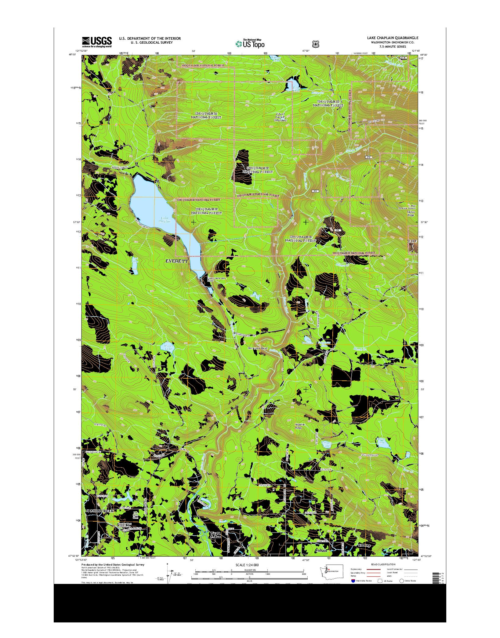 USGS US TOPO 7.5-MINUTE MAP FOR LAKE CHAPLAIN, WA 2014