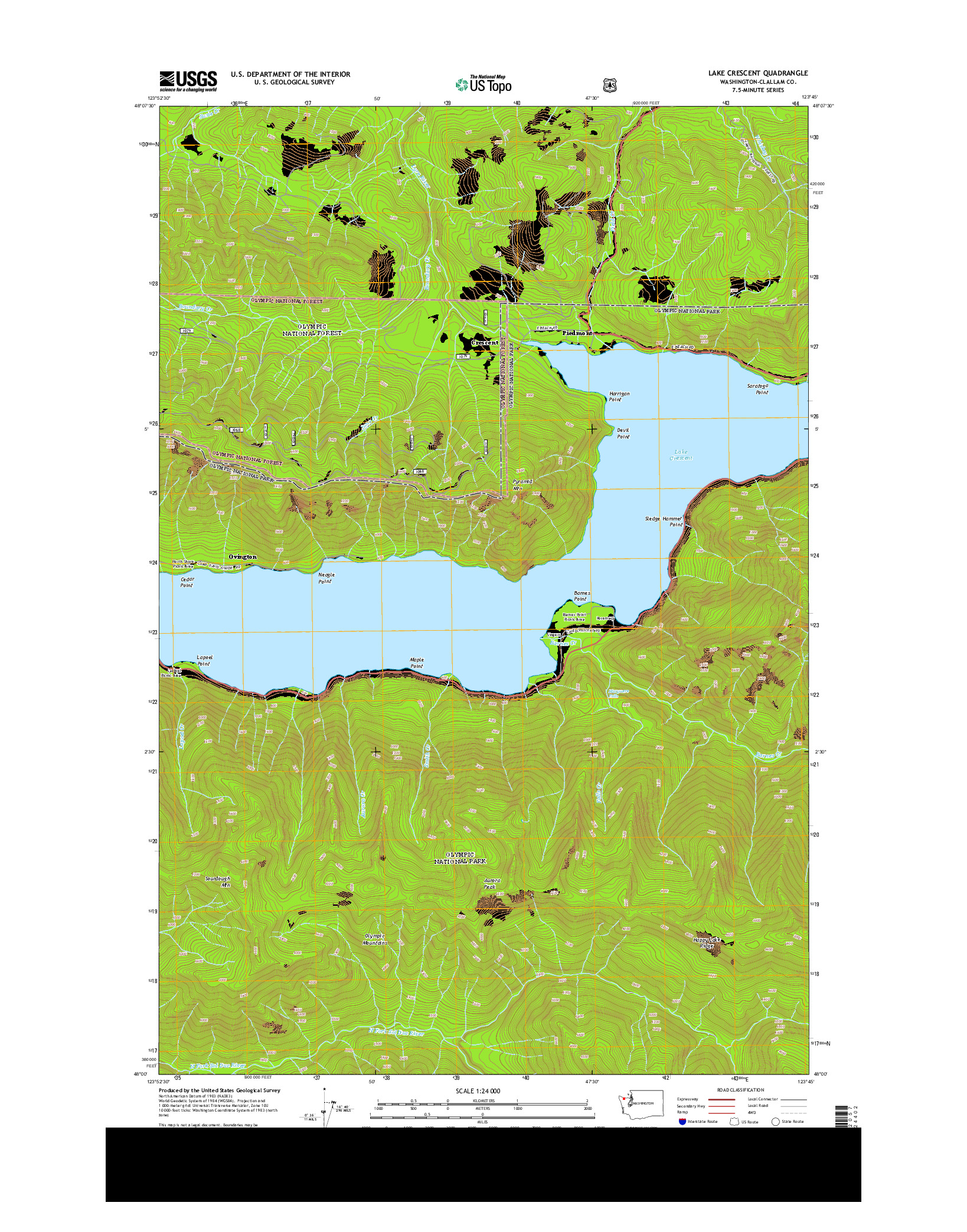 USGS US TOPO 7.5-MINUTE MAP FOR LAKE CRESCENT, WA 2014