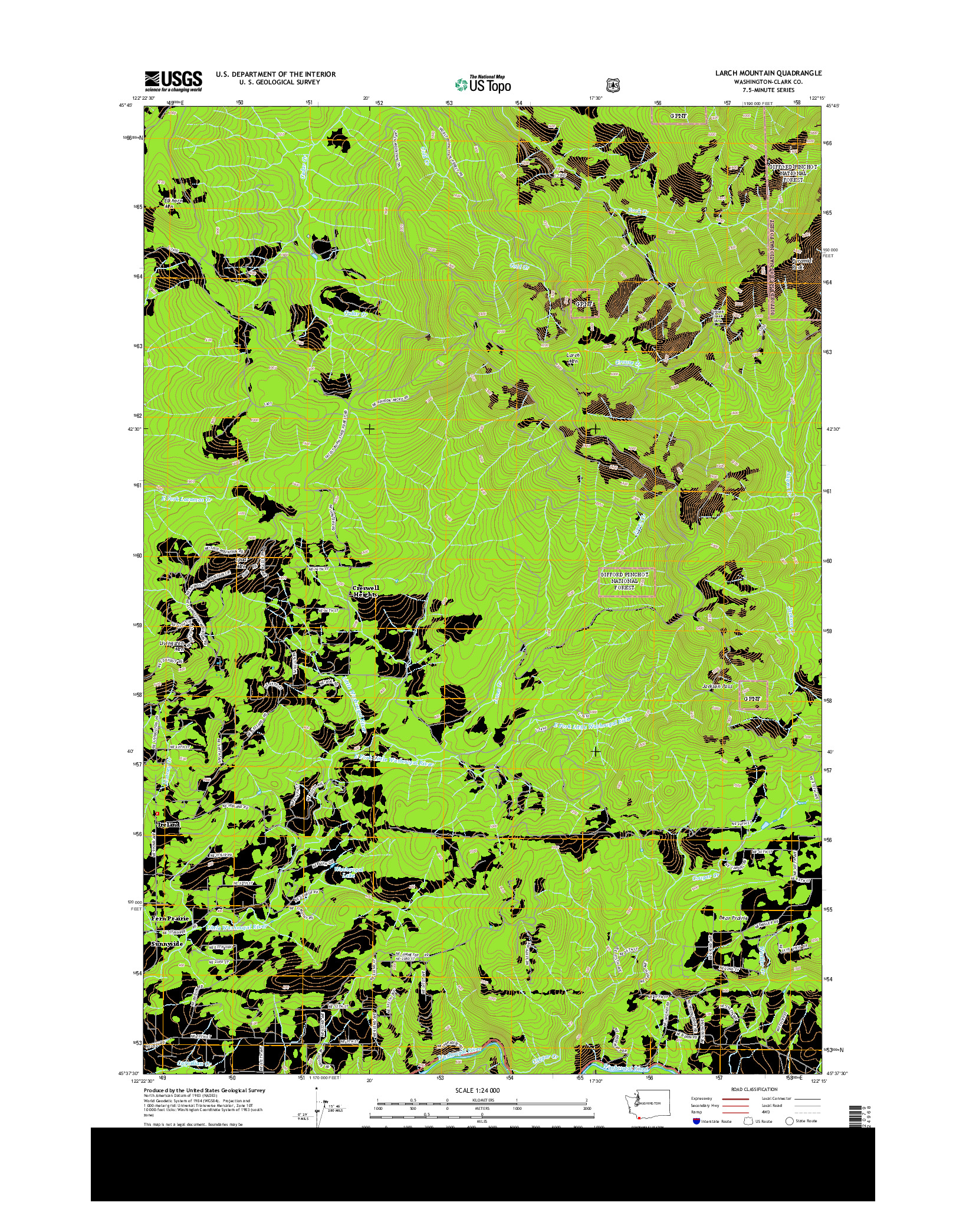 USGS US TOPO 7.5-MINUTE MAP FOR LARCH MOUNTAIN, WA 2014