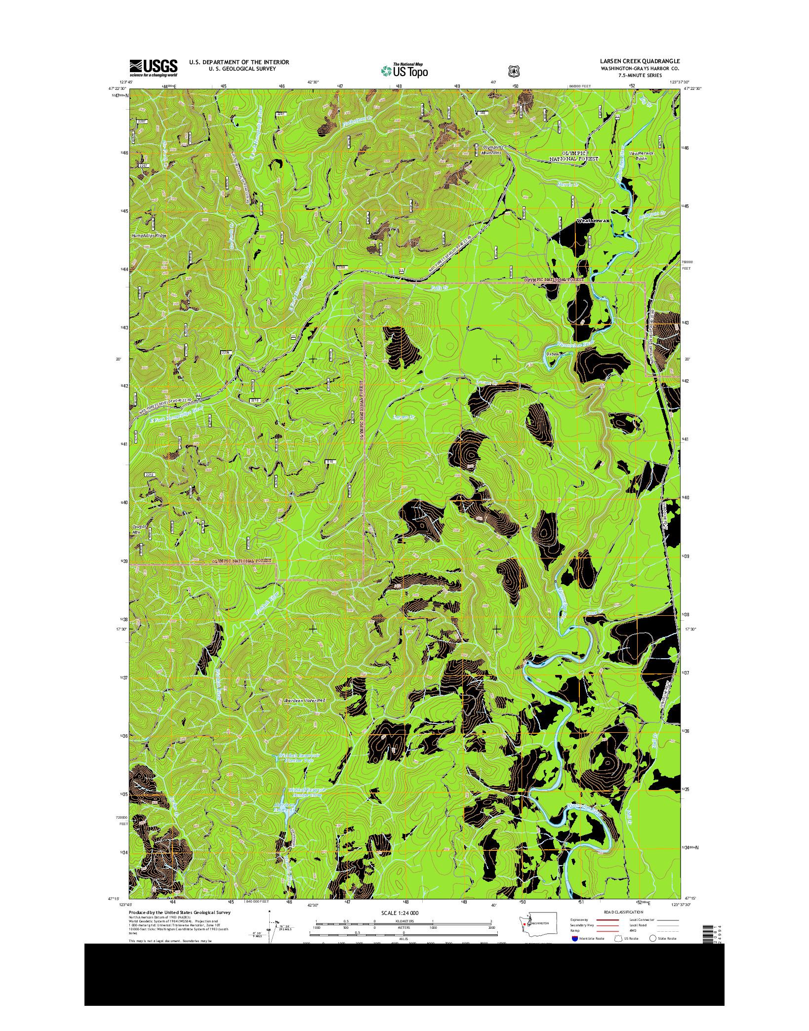 USGS US TOPO 7.5-MINUTE MAP FOR LARSEN CREEK, WA 2014