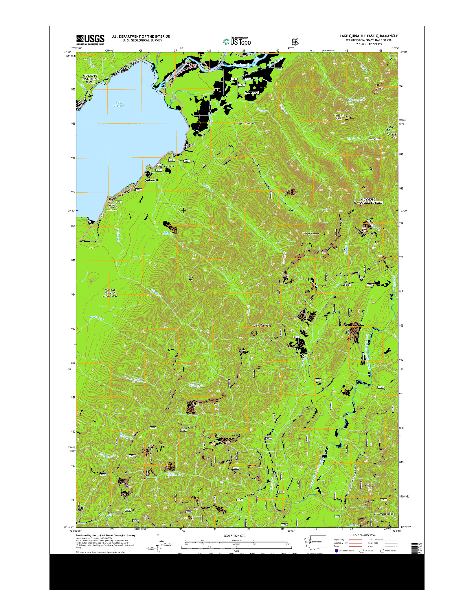 USGS US TOPO 7.5-MINUTE MAP FOR LAKE QUINAULT EAST, WA 2014