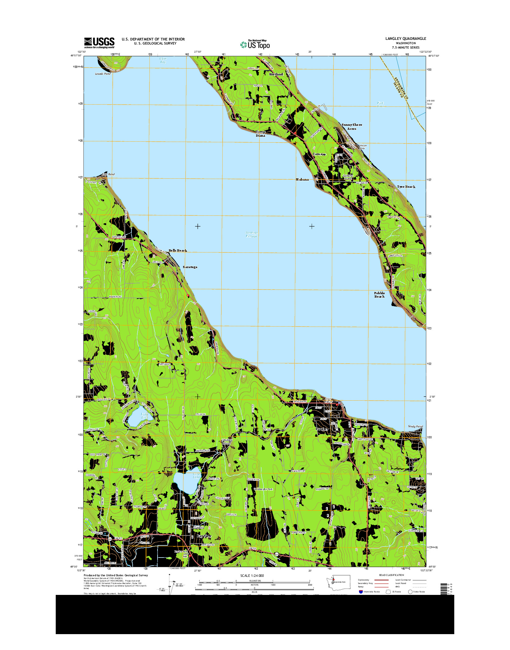 USGS US TOPO 7.5-MINUTE MAP FOR LANGLEY, WA 2014