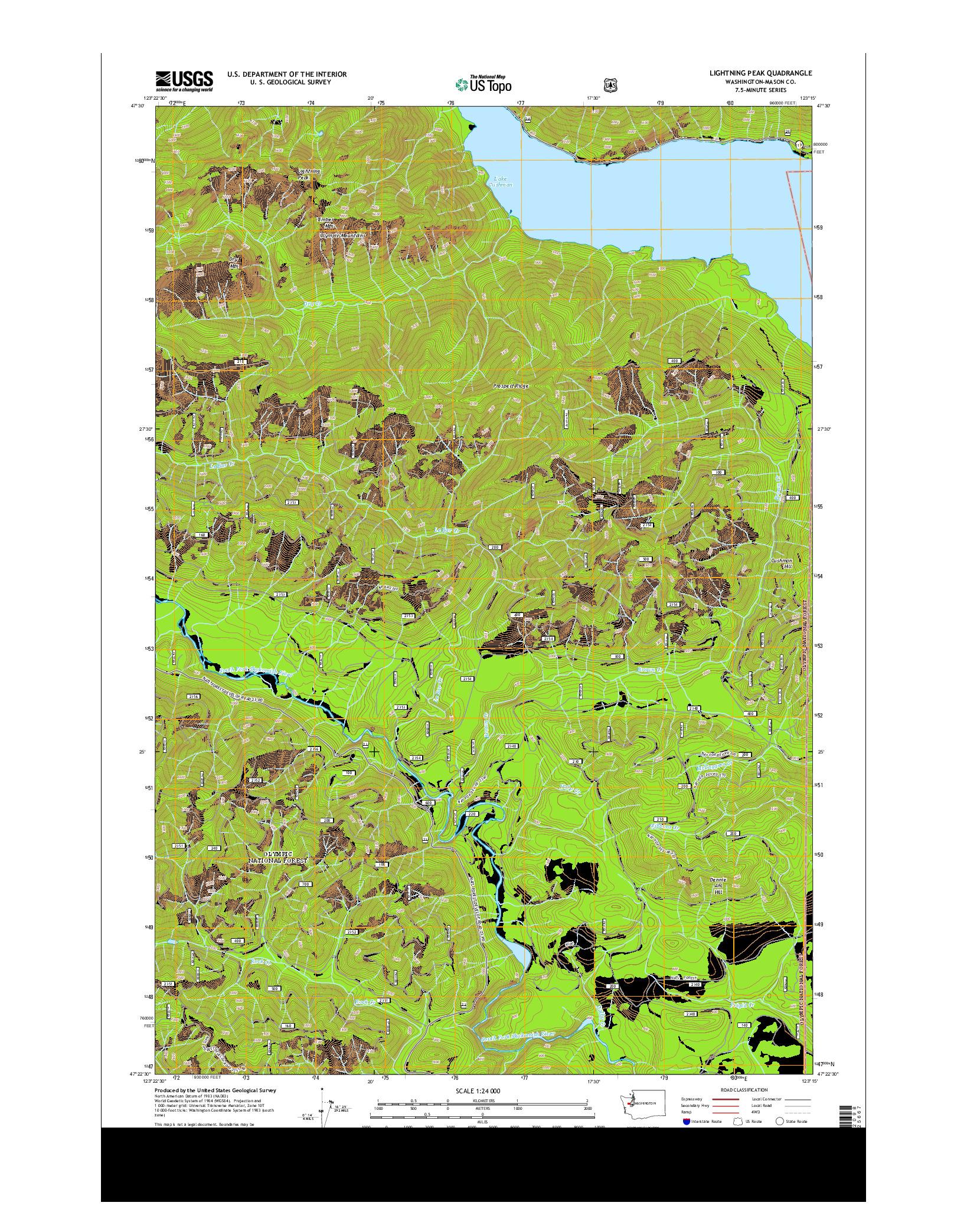USGS US TOPO 7.5-MINUTE MAP FOR LIGHTNING PEAK, WA 2014