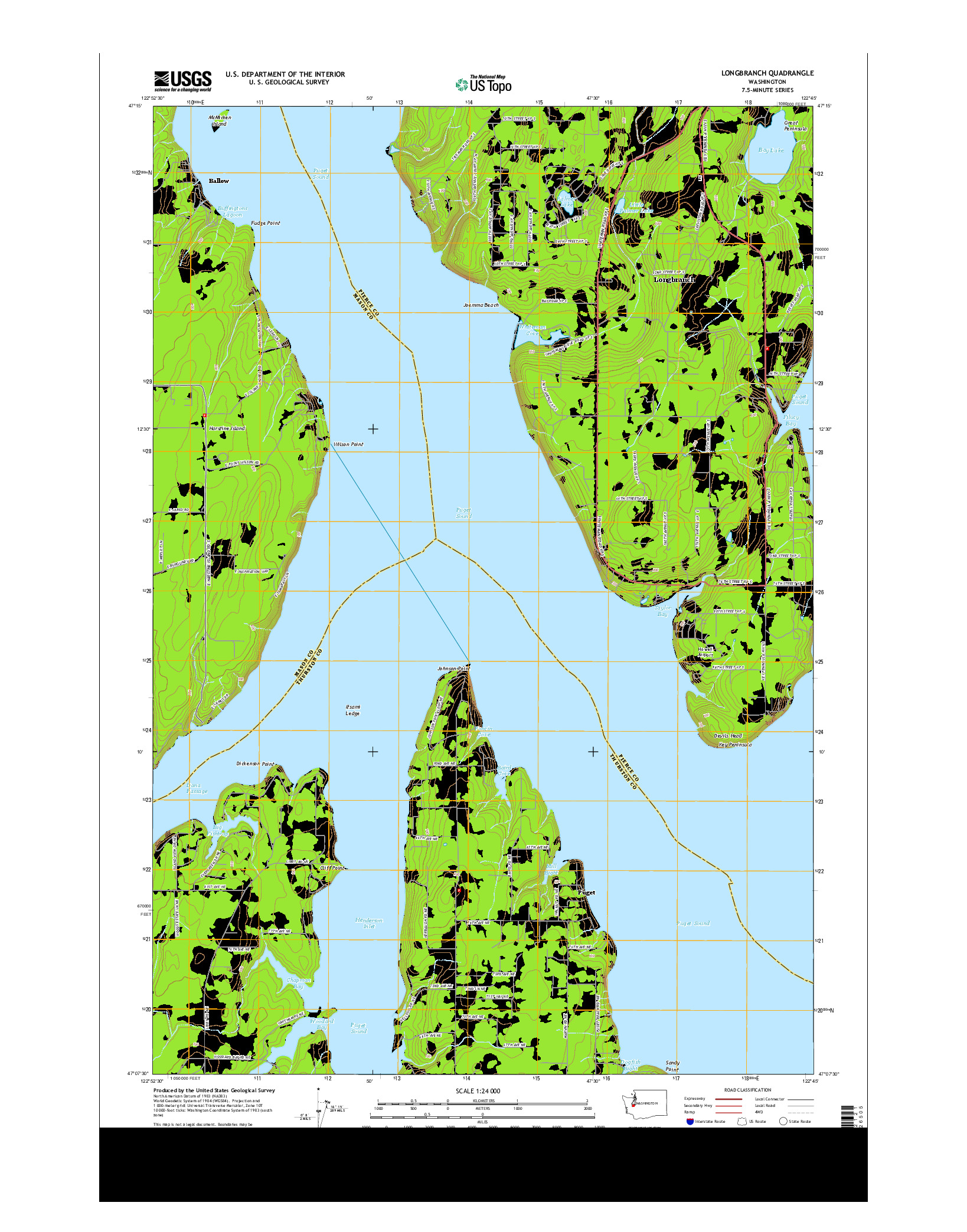 USGS US TOPO 7.5-MINUTE MAP FOR LONGBRANCH, WA 2014