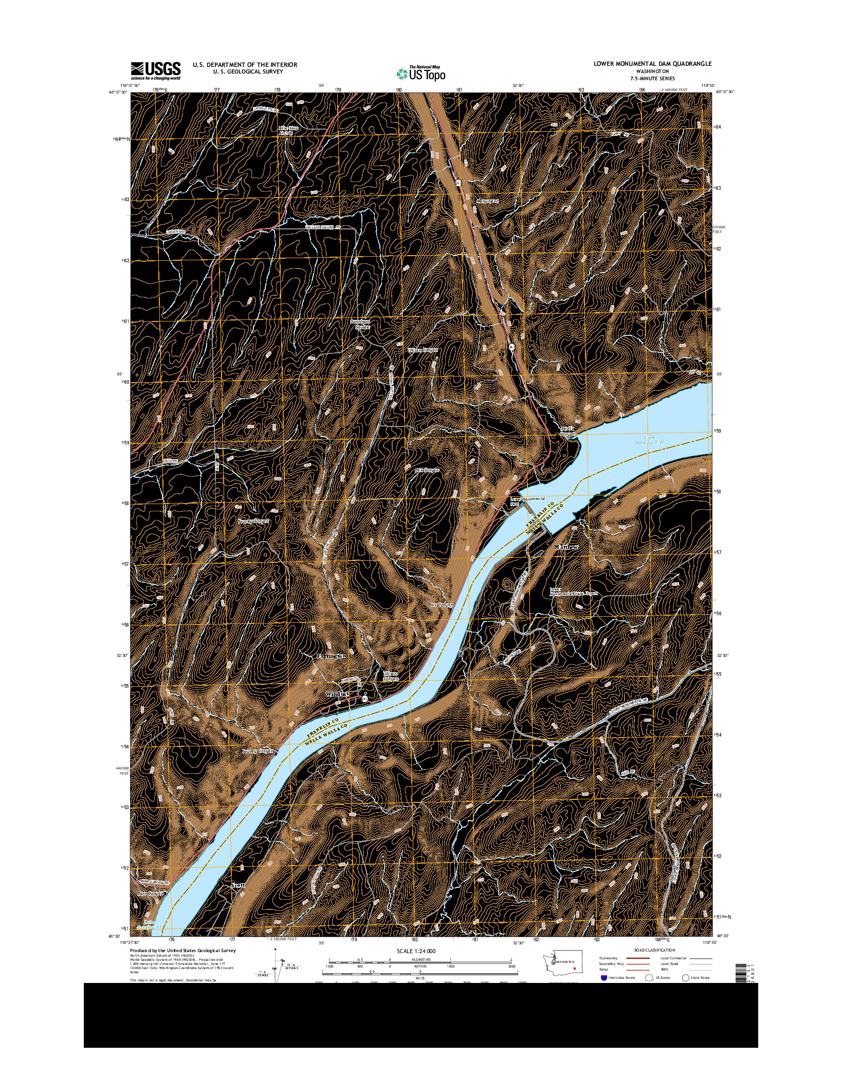 USGS US TOPO 7.5-MINUTE MAP FOR LOWER MONUMENTAL DAM, WA 2014