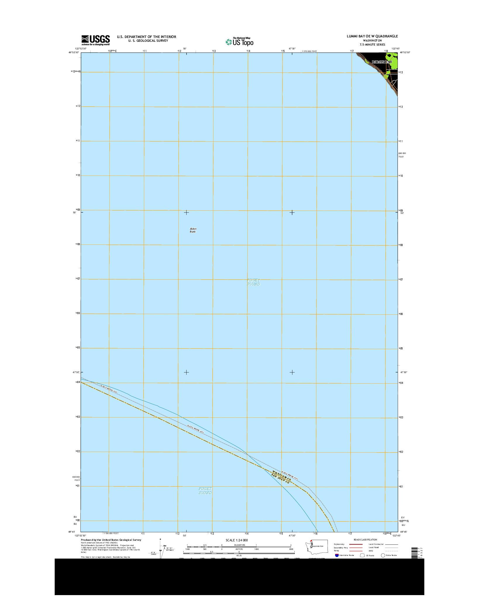 USGS US TOPO 7.5-MINUTE MAP FOR LUMMI BAY OE W, WA 2014