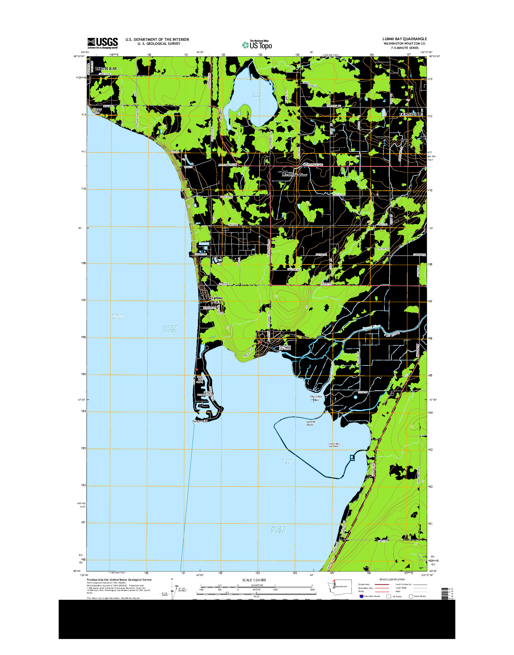USGS US TOPO 7.5-MINUTE MAP FOR LUMMI BAY, WA 2014