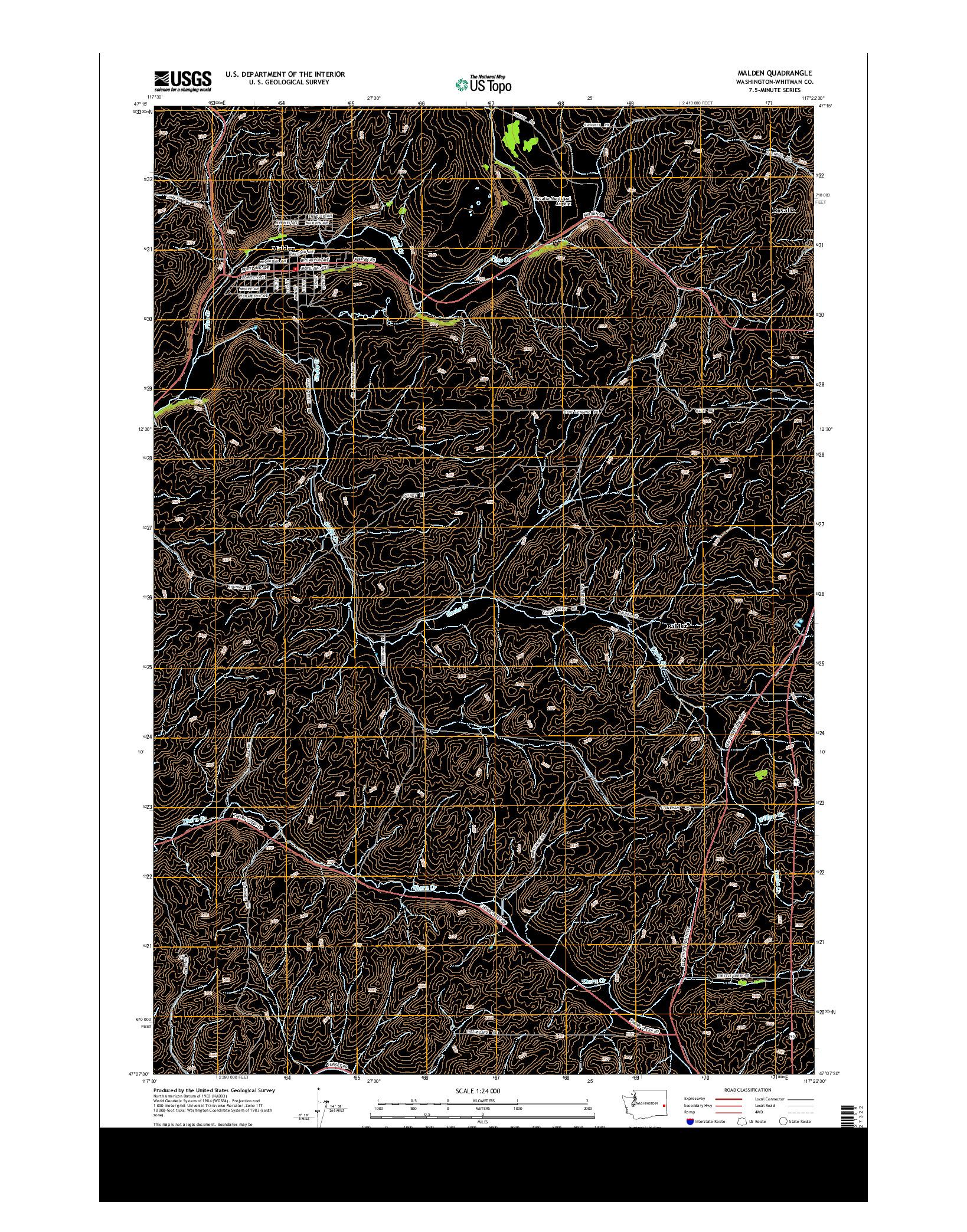 USGS US TOPO 7.5-MINUTE MAP FOR MALDEN, WA 2014