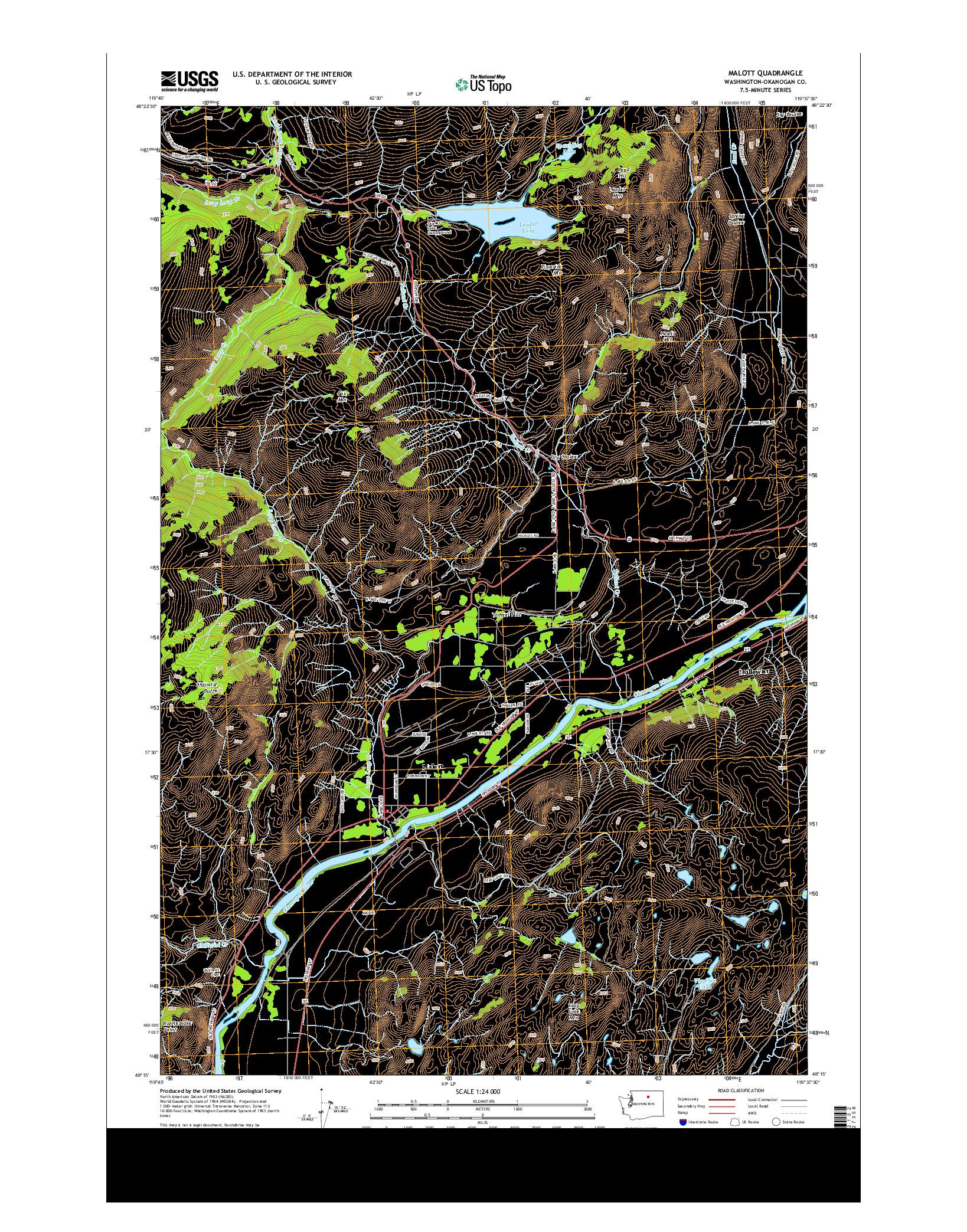 USGS US TOPO 7.5-MINUTE MAP FOR MALOTT, WA 2014