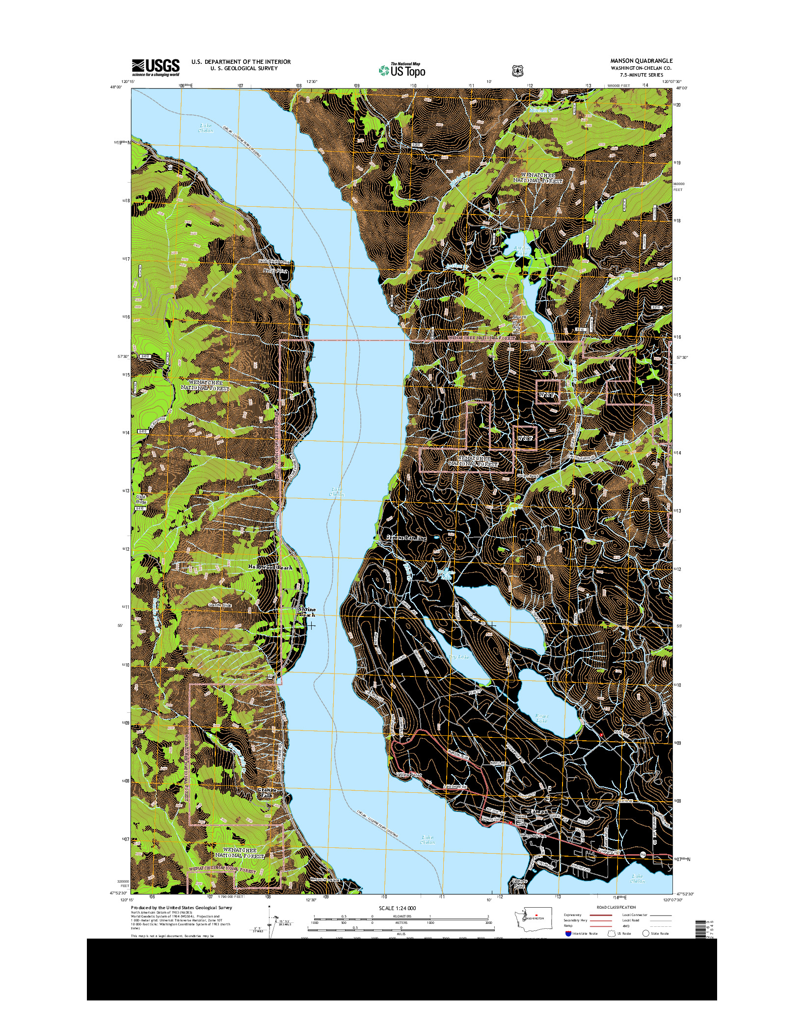USGS US TOPO 7.5-MINUTE MAP FOR MANSON, WA 2014