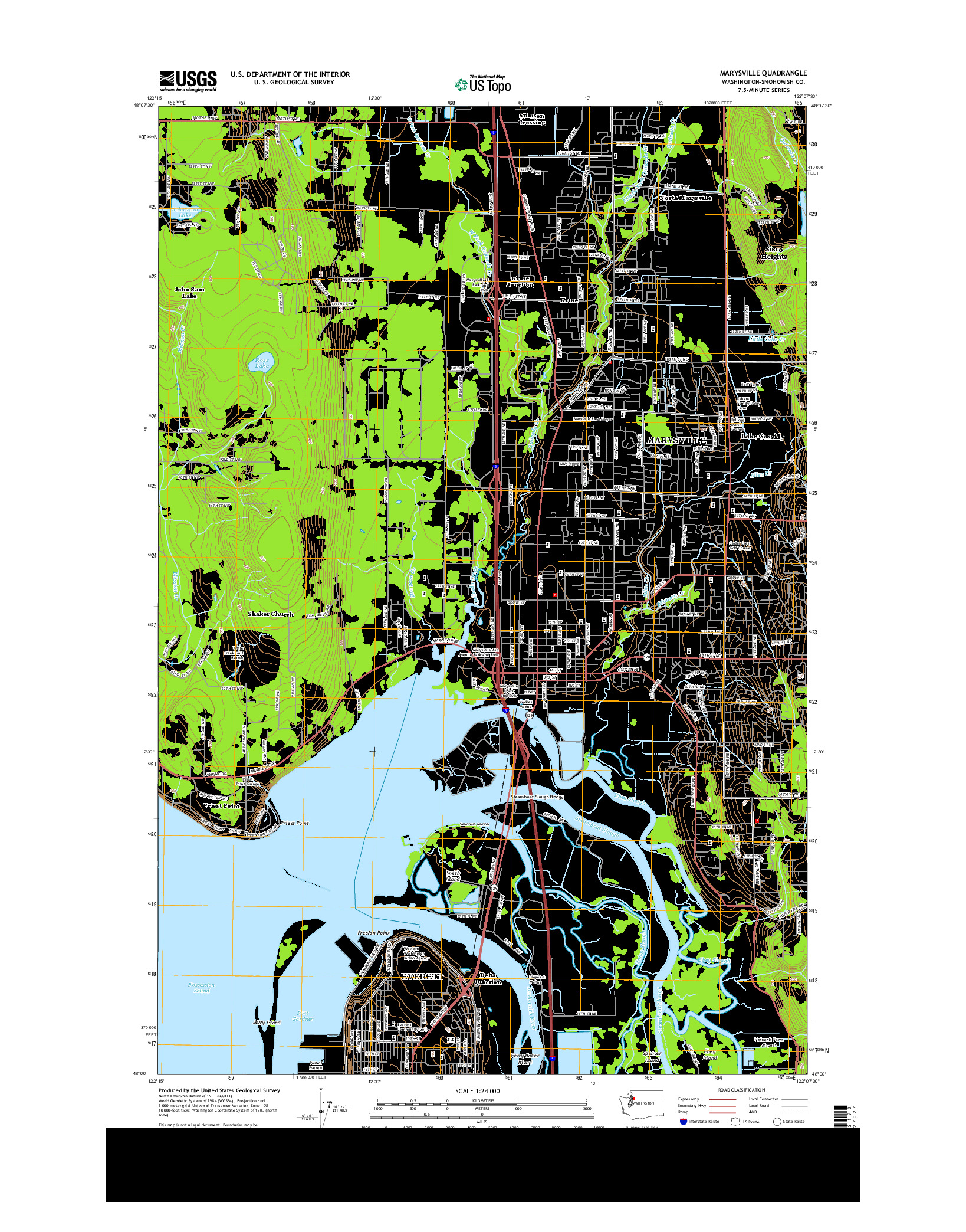 USGS US TOPO 7.5-MINUTE MAP FOR MARYSVILLE, WA 2014