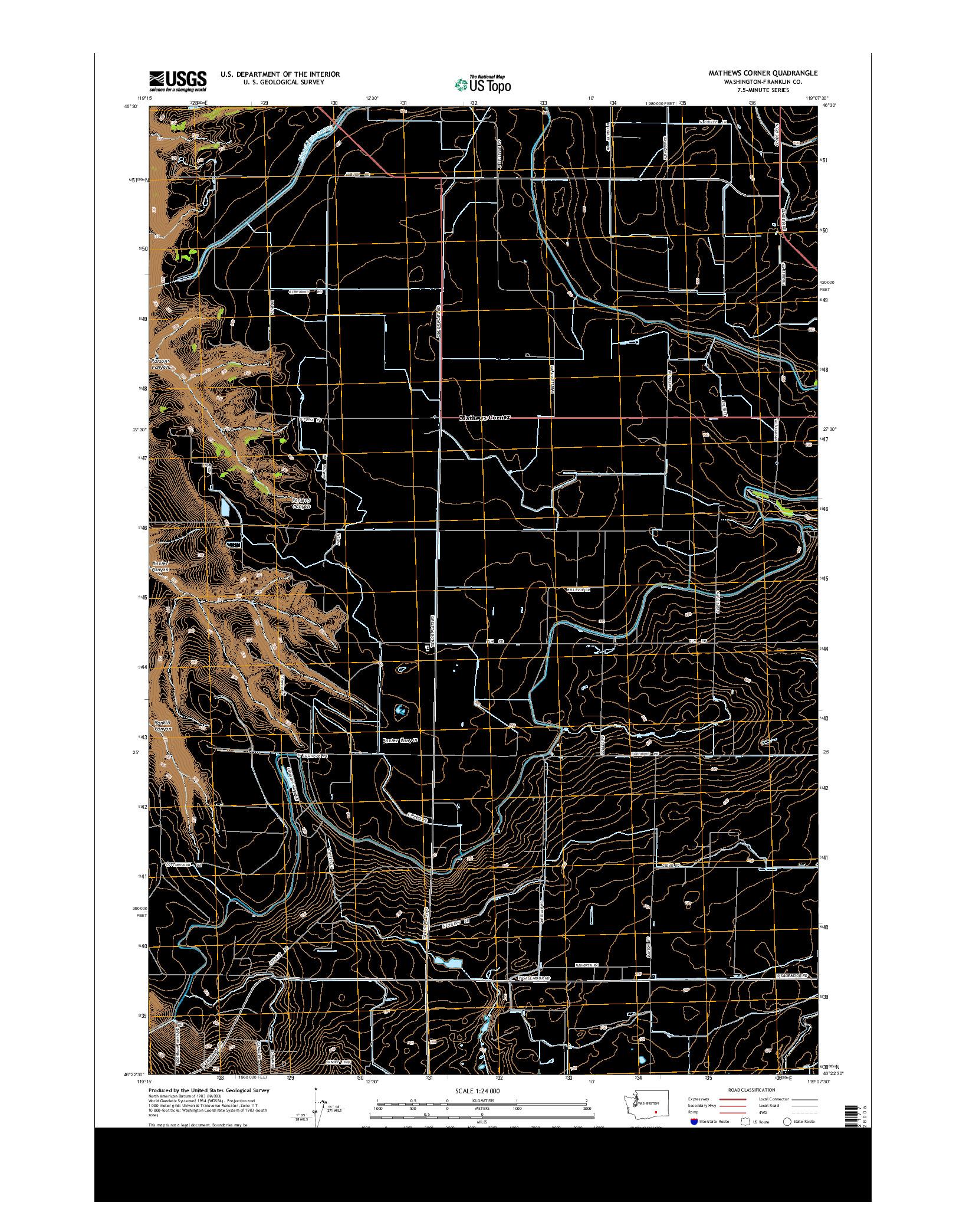 USGS US TOPO 7.5-MINUTE MAP FOR MATHEWS CORNER, WA 2014
