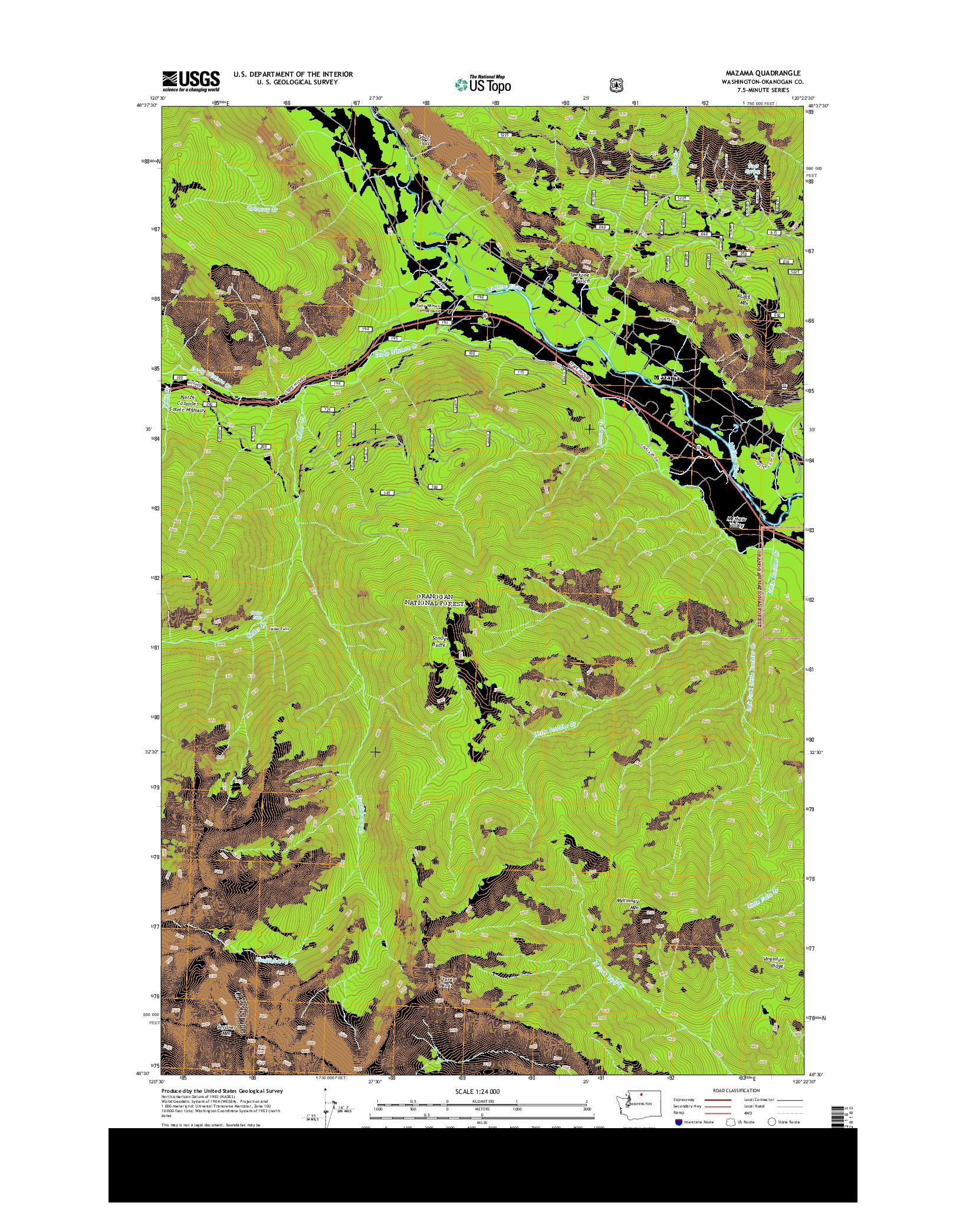 USGS US TOPO 7.5-MINUTE MAP FOR MAZAMA, WA 2014