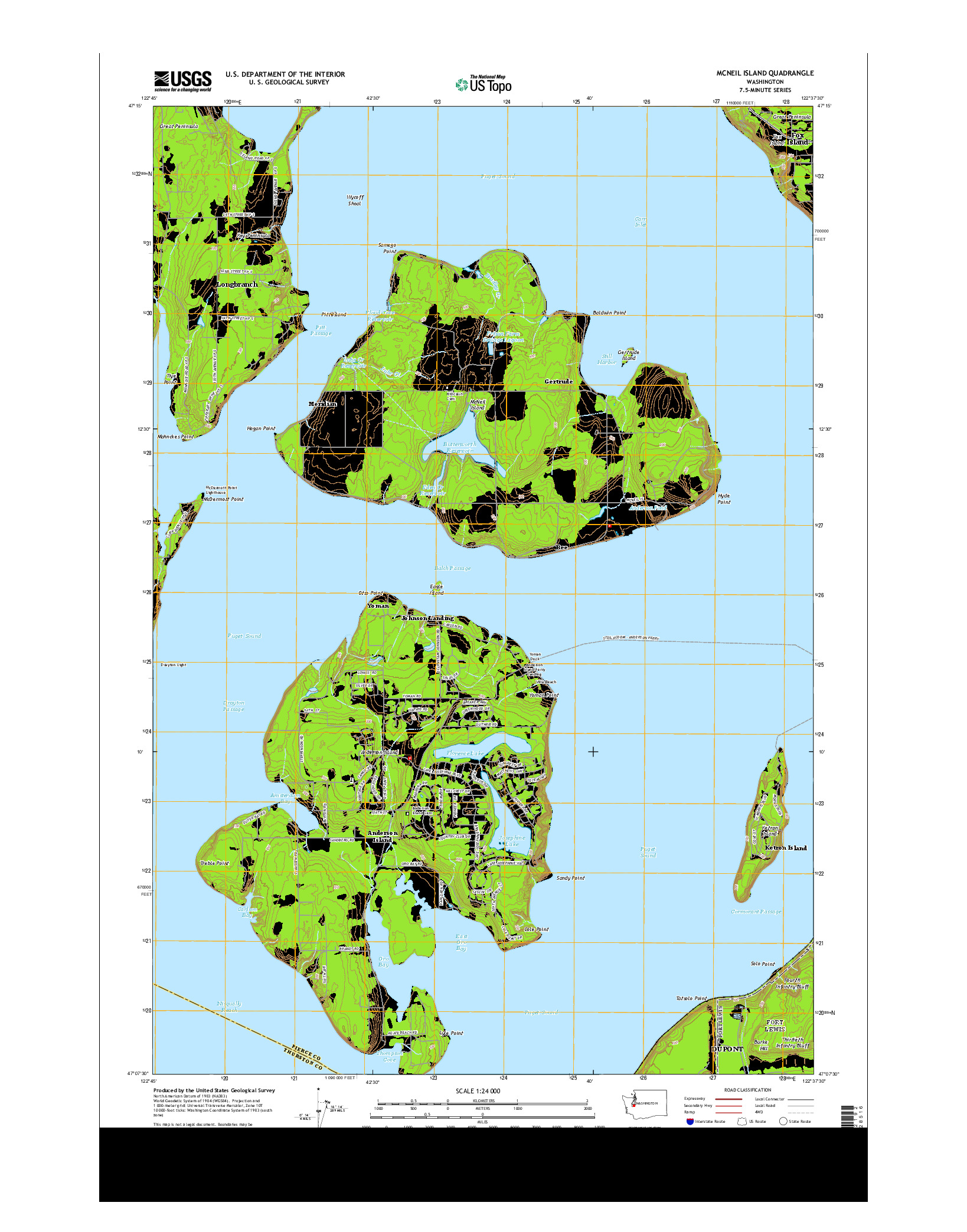 USGS US TOPO 7.5-MINUTE MAP FOR MCNEIL ISLAND, WA 2014