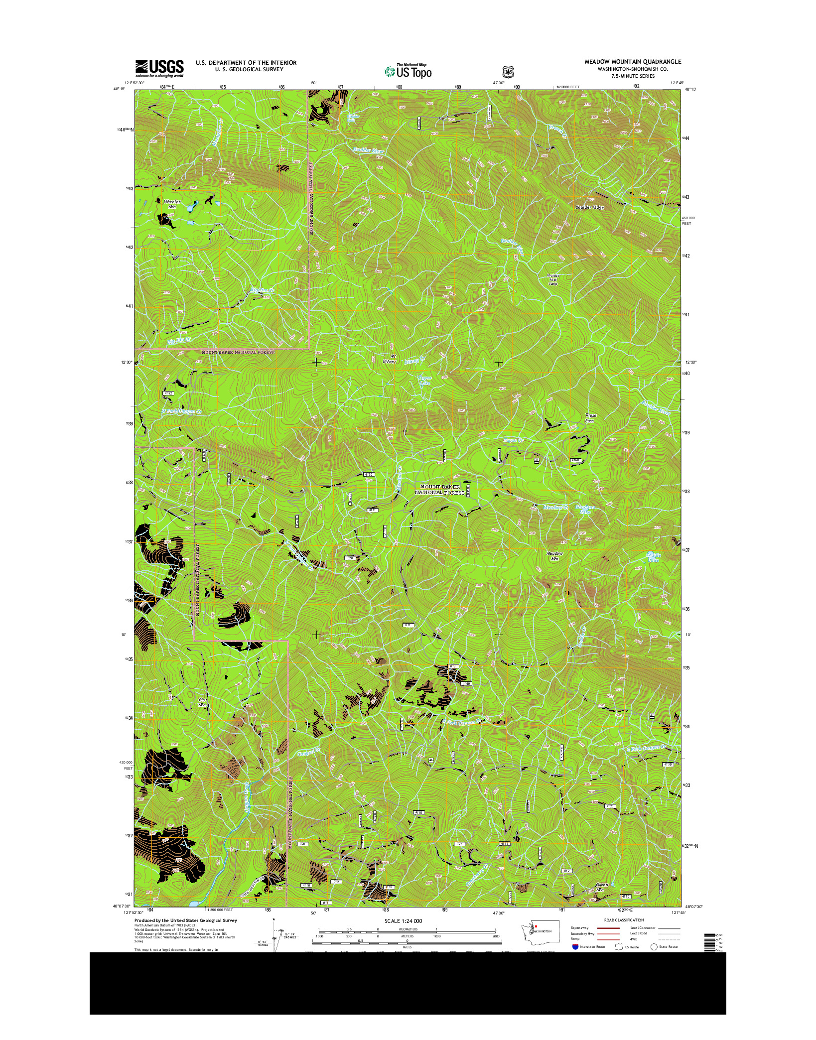 USGS US TOPO 7.5-MINUTE MAP FOR MEADOW MOUNTAIN, WA 2014