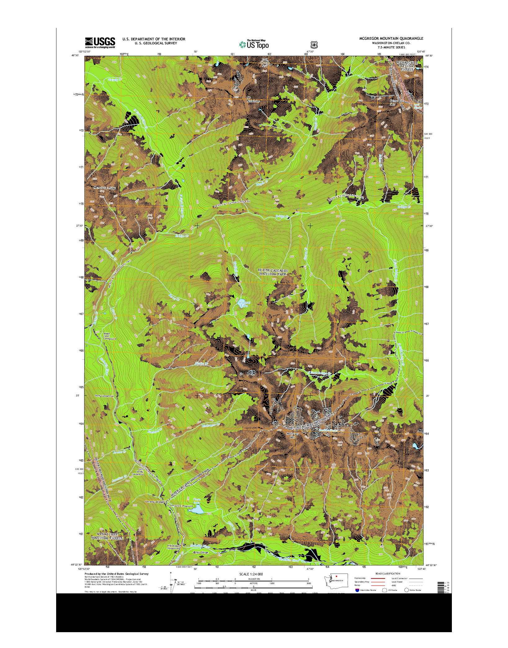 USGS US TOPO 7.5-MINUTE MAP FOR MCGREGOR MOUNTAIN, WA 2014
