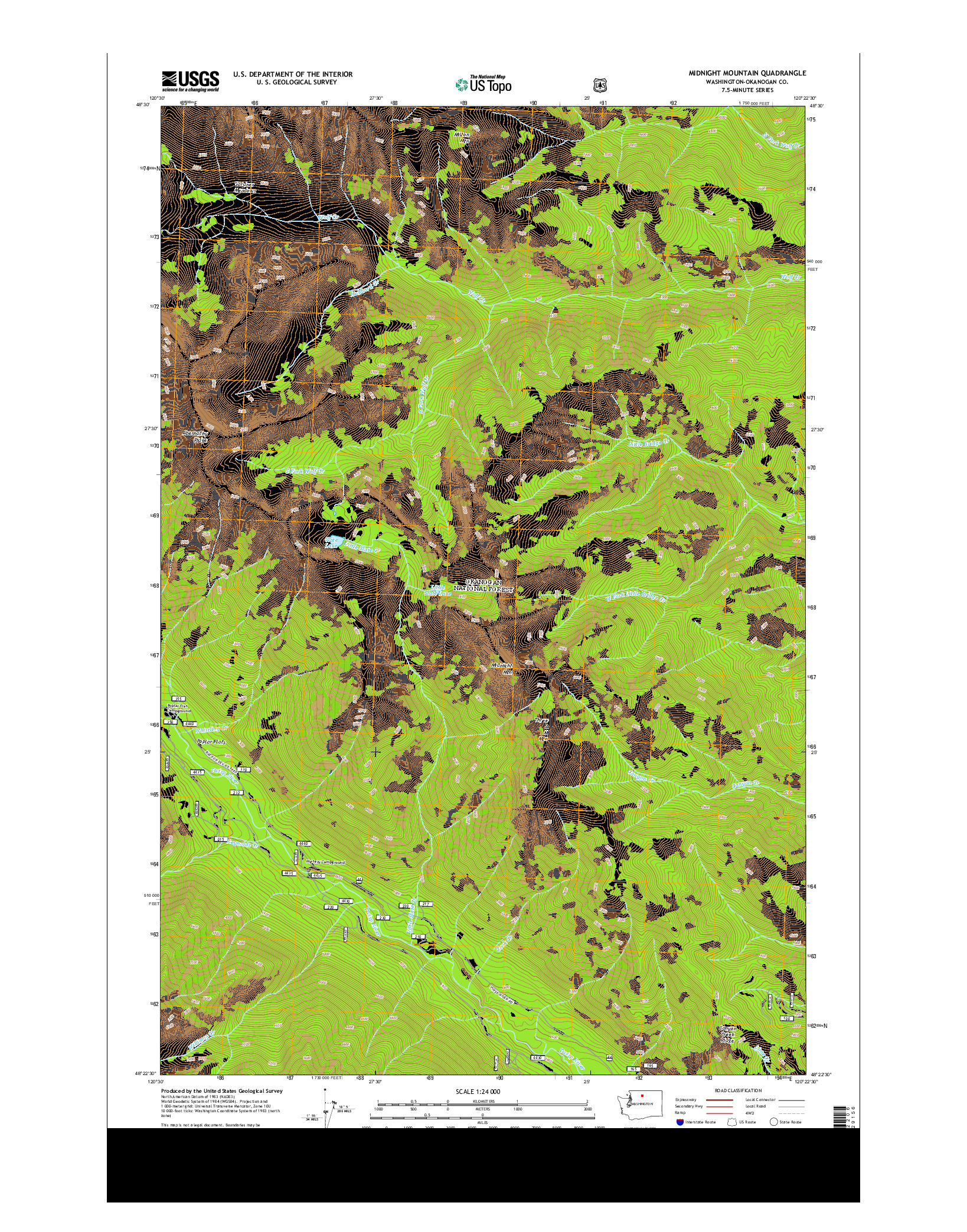 USGS US TOPO 7.5-MINUTE MAP FOR MIDNIGHT MOUNTAIN, WA 2014