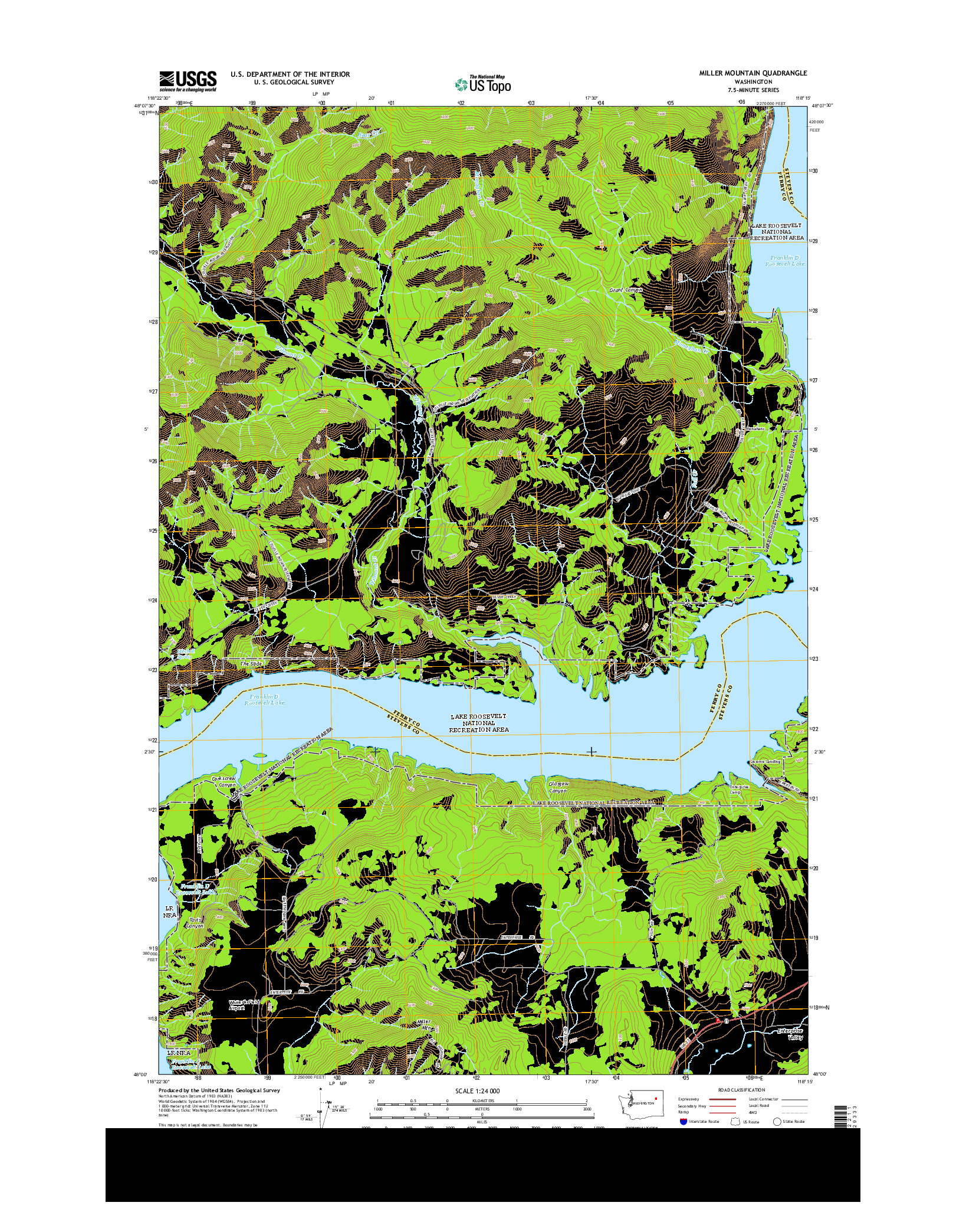 USGS US TOPO 7.5-MINUTE MAP FOR MILLER MOUNTAIN, WA 2014