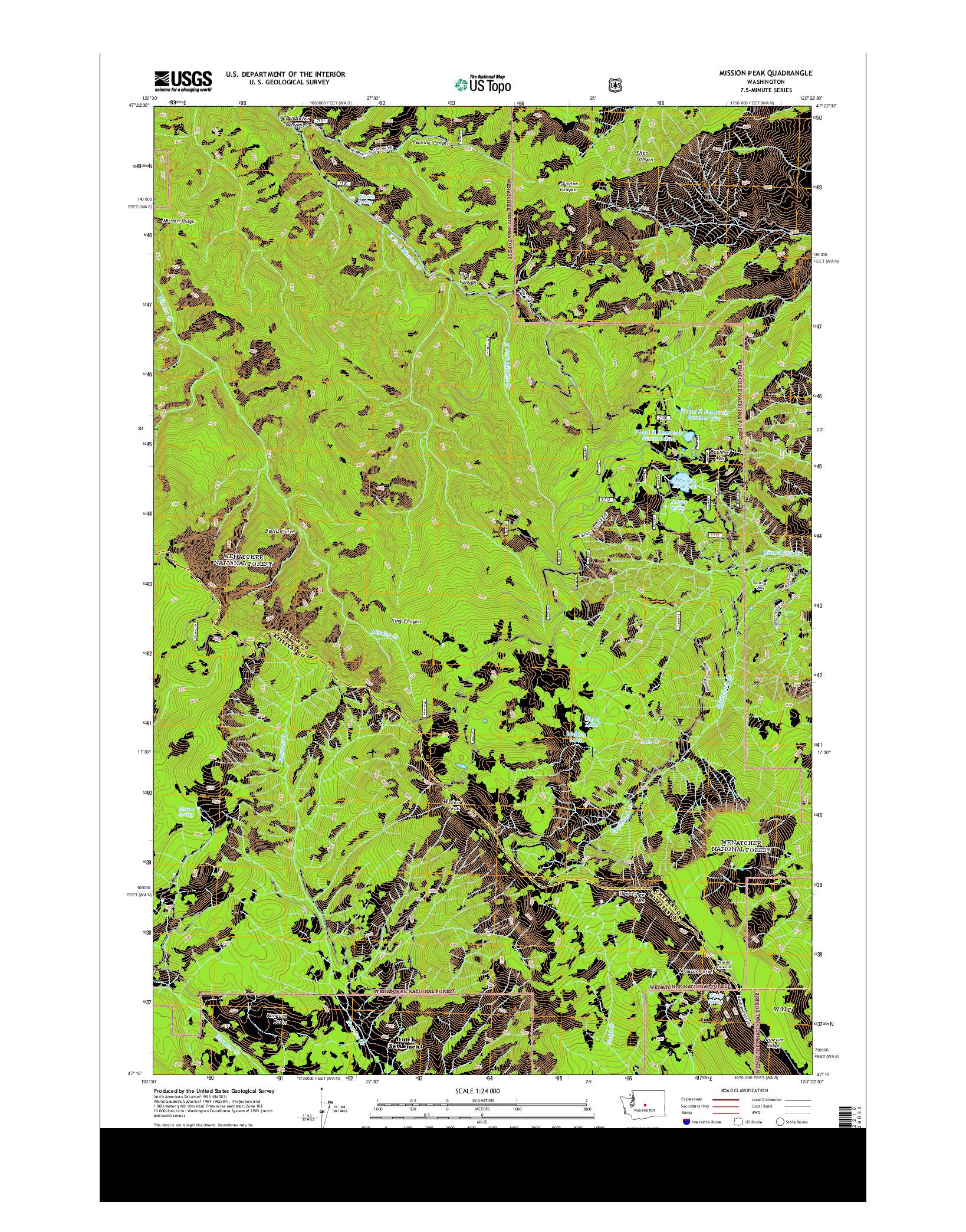 USGS US TOPO 7.5-MINUTE MAP FOR MISSION PEAK, WA 2014