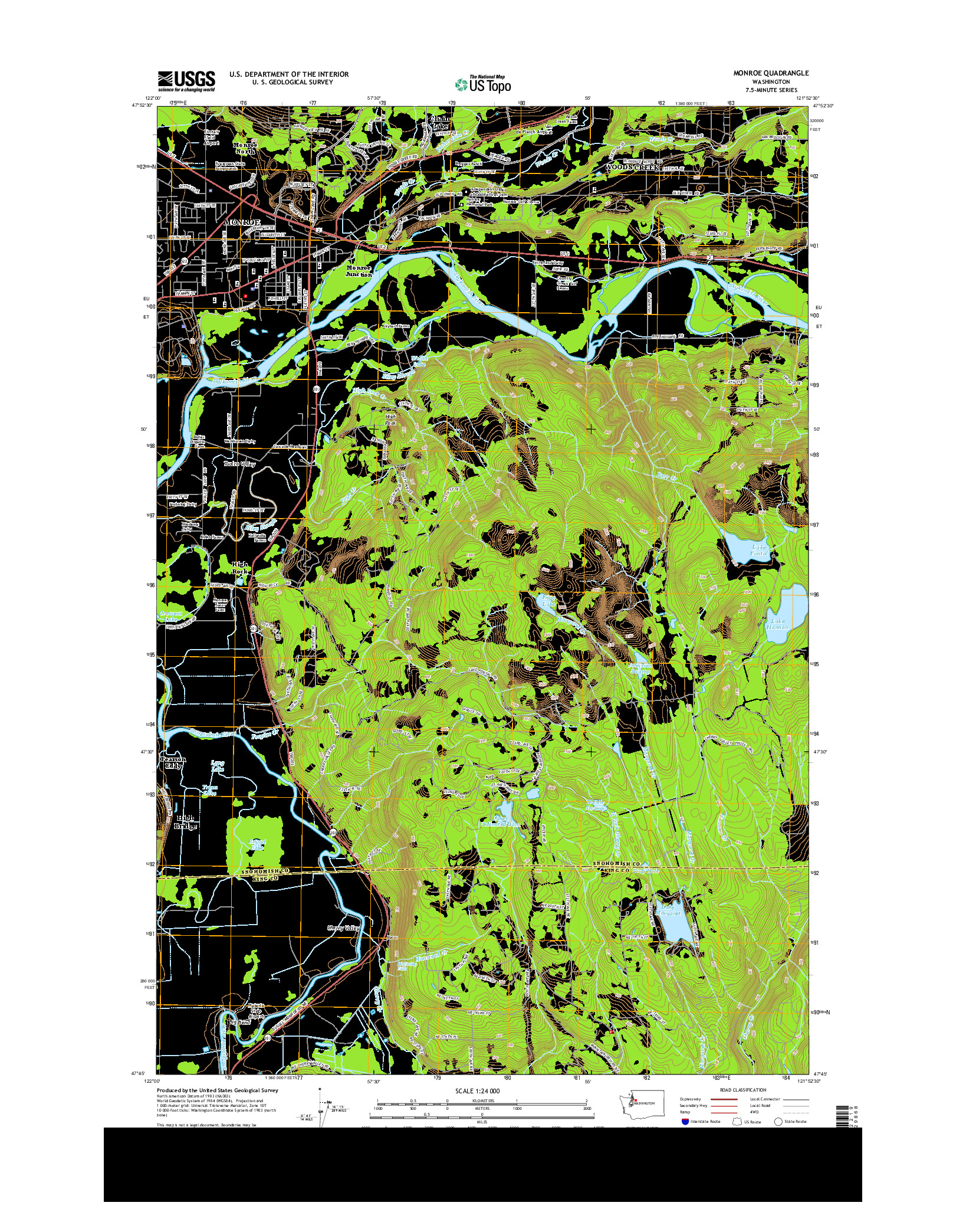 USGS US TOPO 7.5-MINUTE MAP FOR MONROE, WA 2014