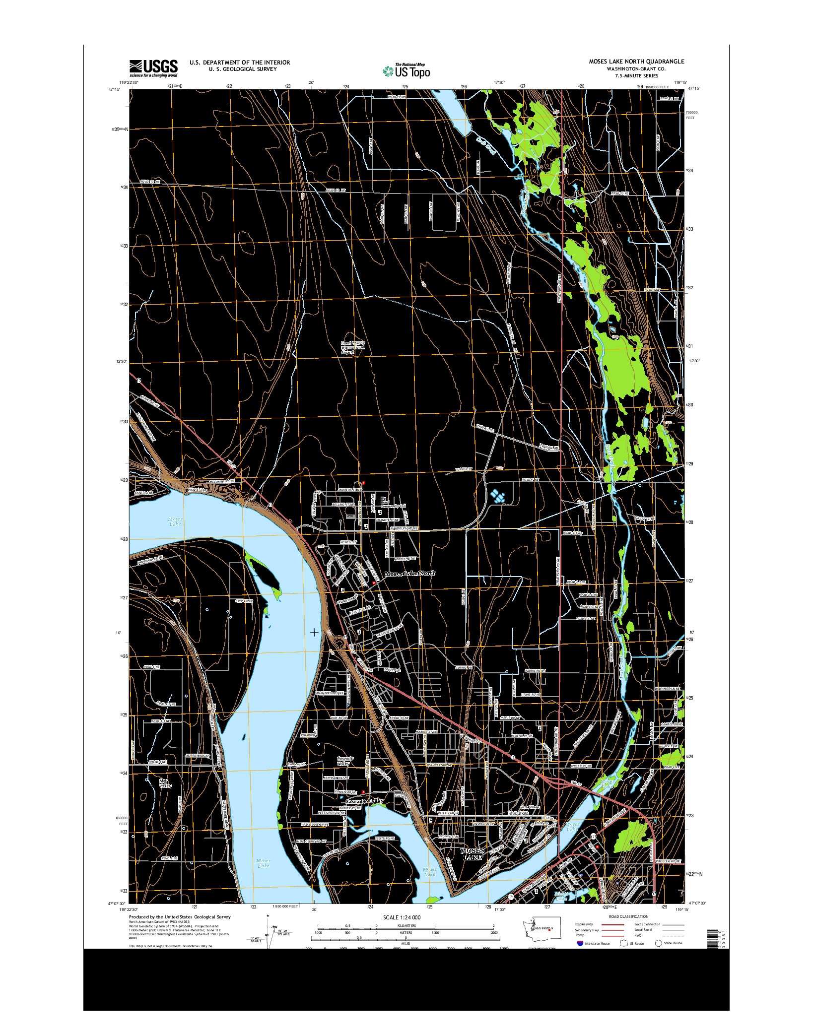 USGS US TOPO 7.5-MINUTE MAP FOR MOSES LAKE NORTH, WA 2014