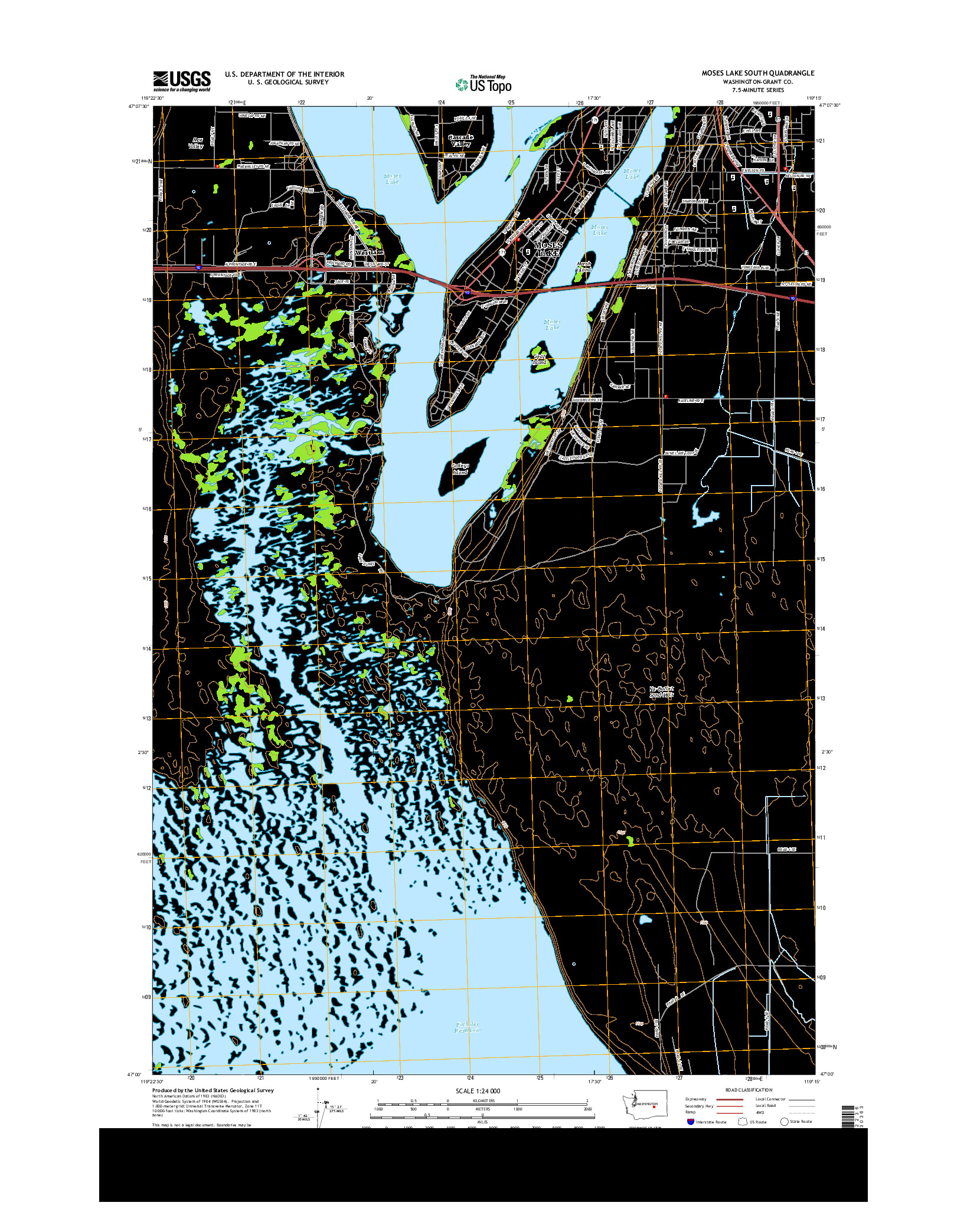 USGS US TOPO 7.5-MINUTE MAP FOR MOSES LAKE SOUTH, WA 2014