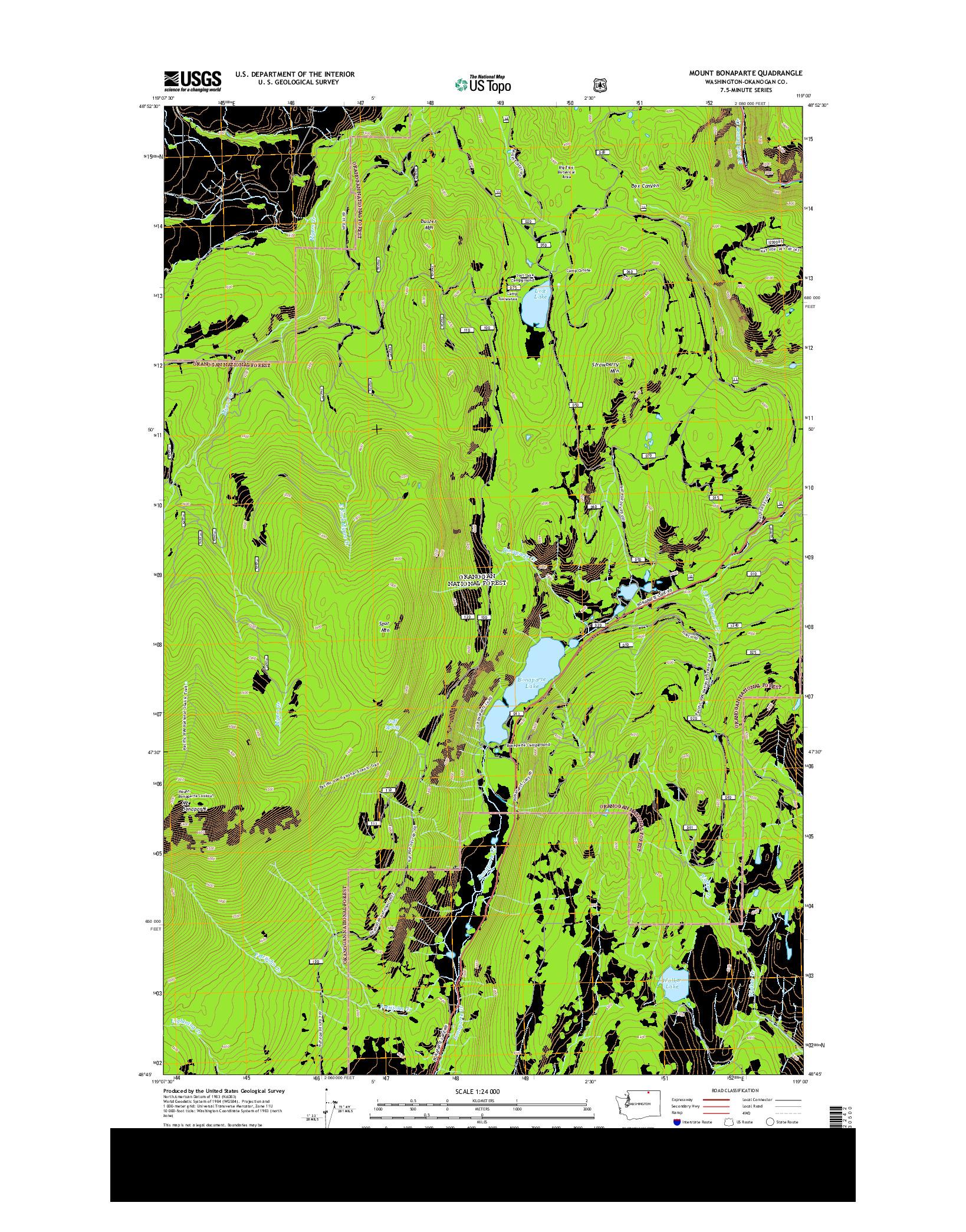 USGS US TOPO 7.5-MINUTE MAP FOR MOUNT BONAPARTE, WA 2014