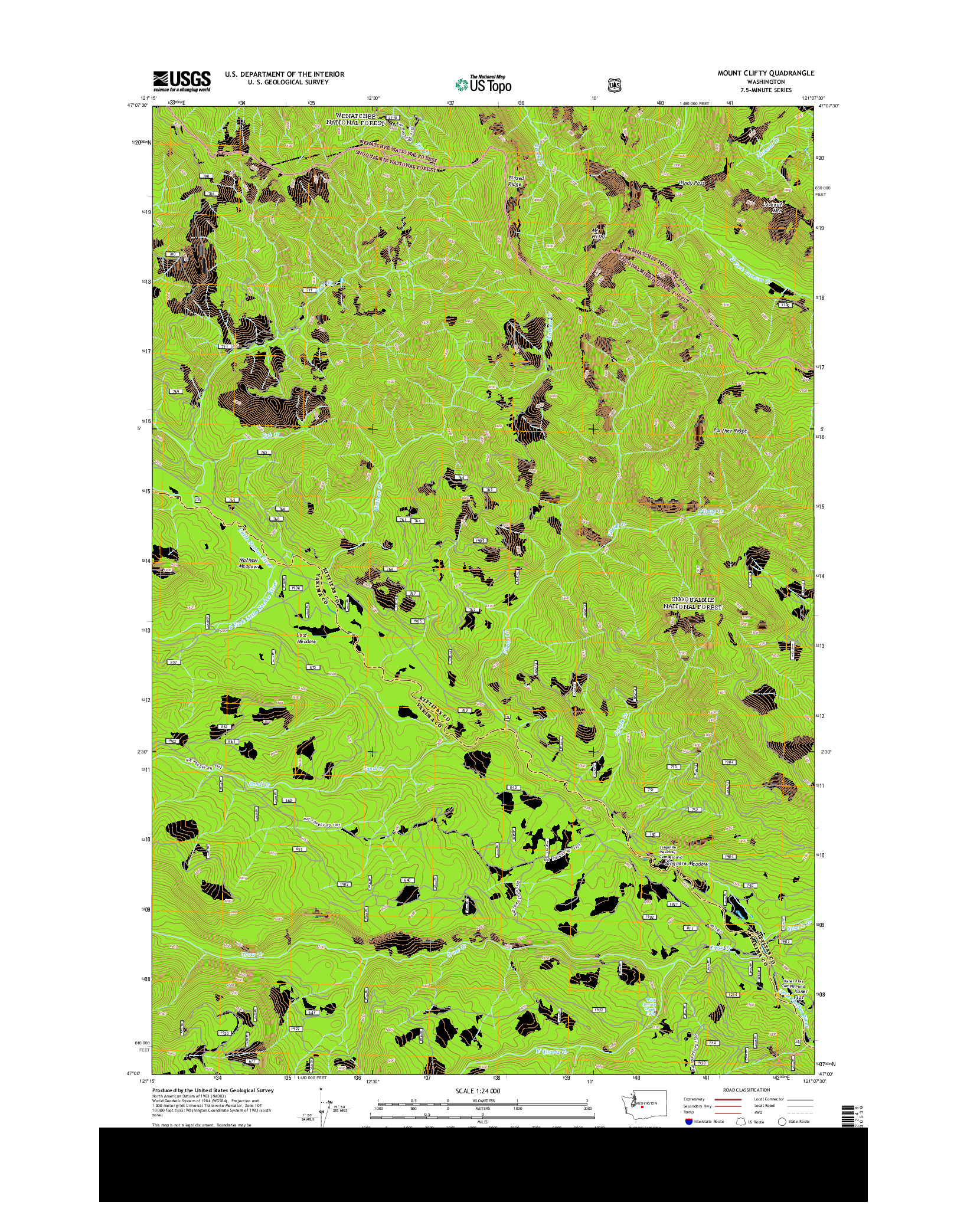 USGS US TOPO 7.5-MINUTE MAP FOR MOUNT CLIFTY, WA 2014