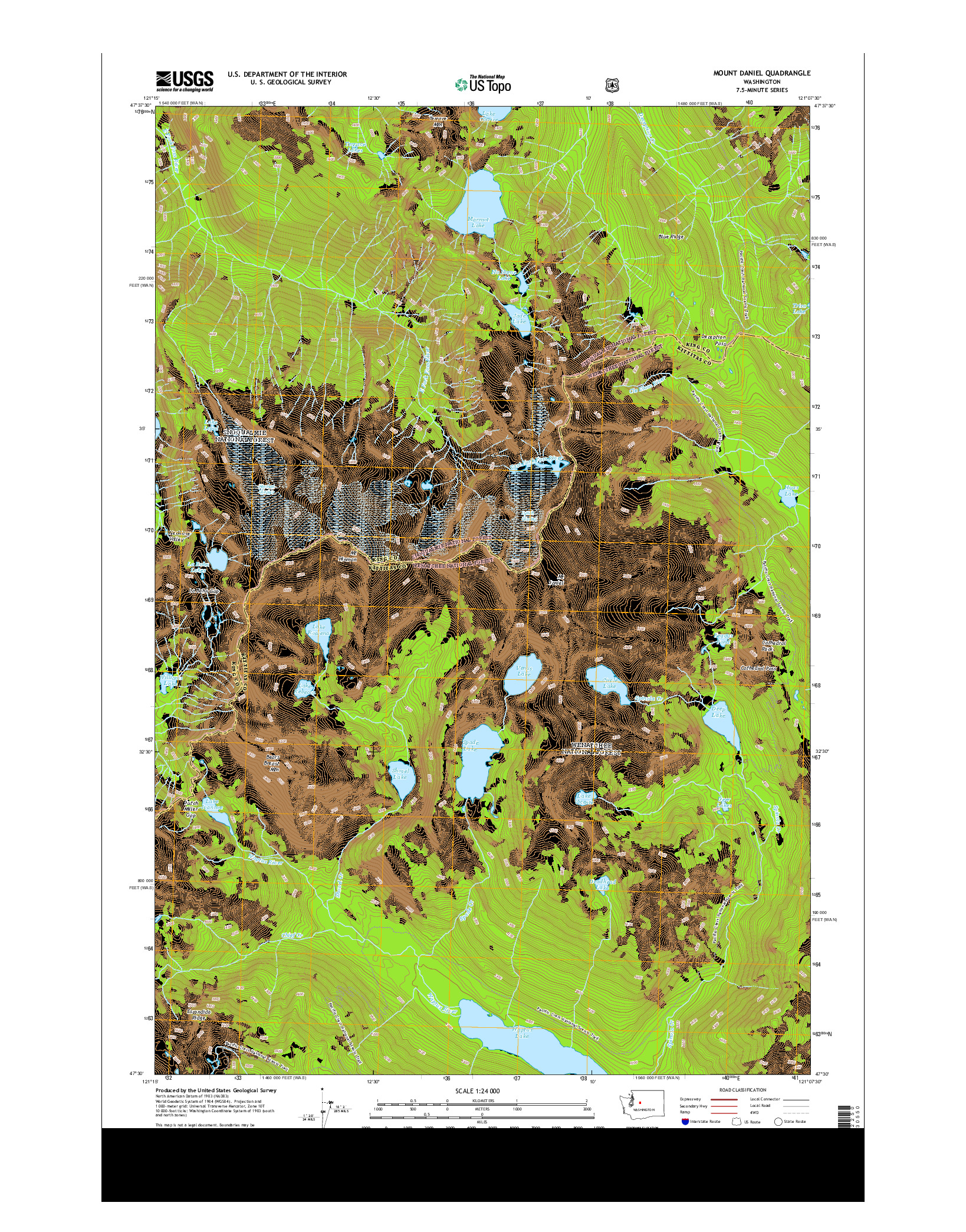 USGS US TOPO 7.5-MINUTE MAP FOR MOUNT DANIEL, WA 2014