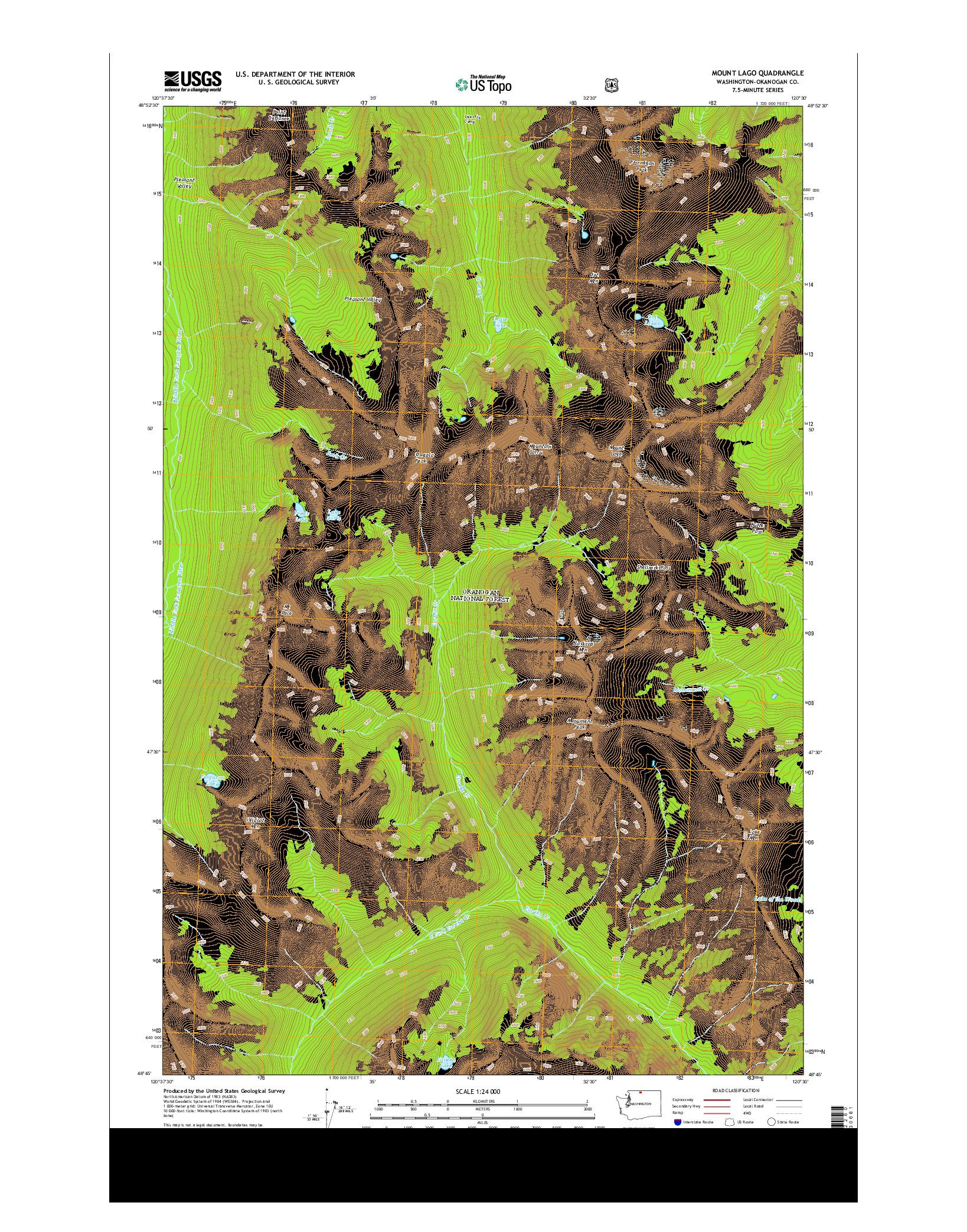 USGS US TOPO 7.5-MINUTE MAP FOR MOUNT LAGO, WA 2014