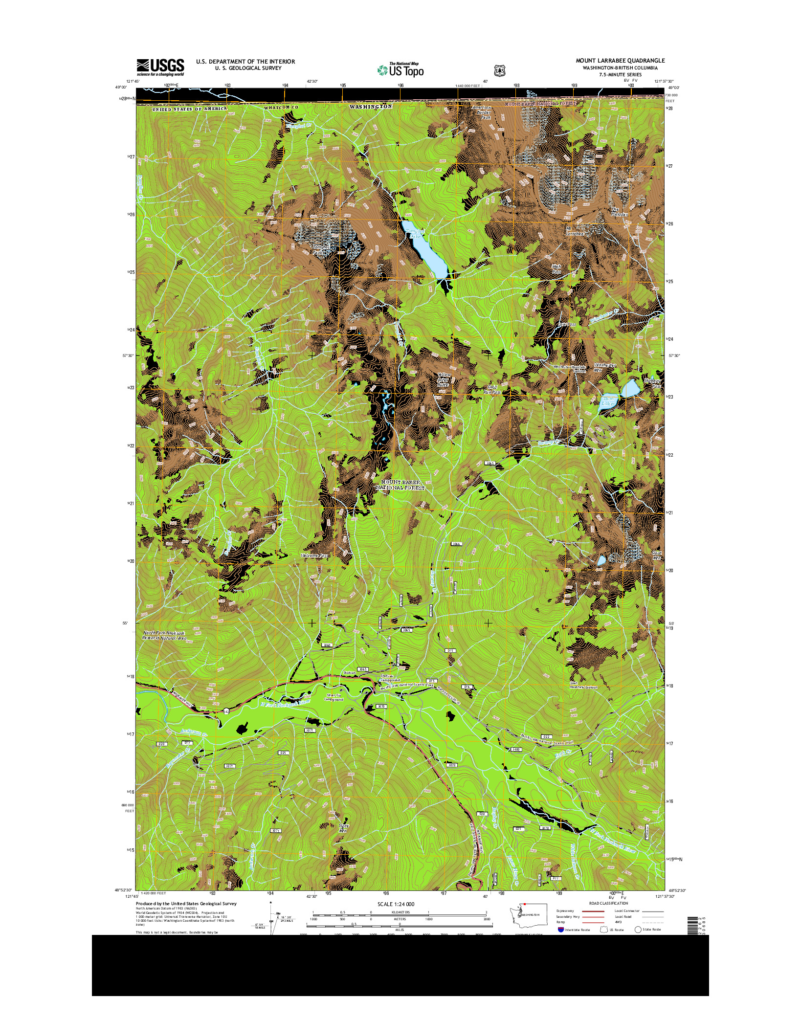 USGS US TOPO 7.5-MINUTE MAP FOR MOUNT LARRABEE, WA-BC 2014