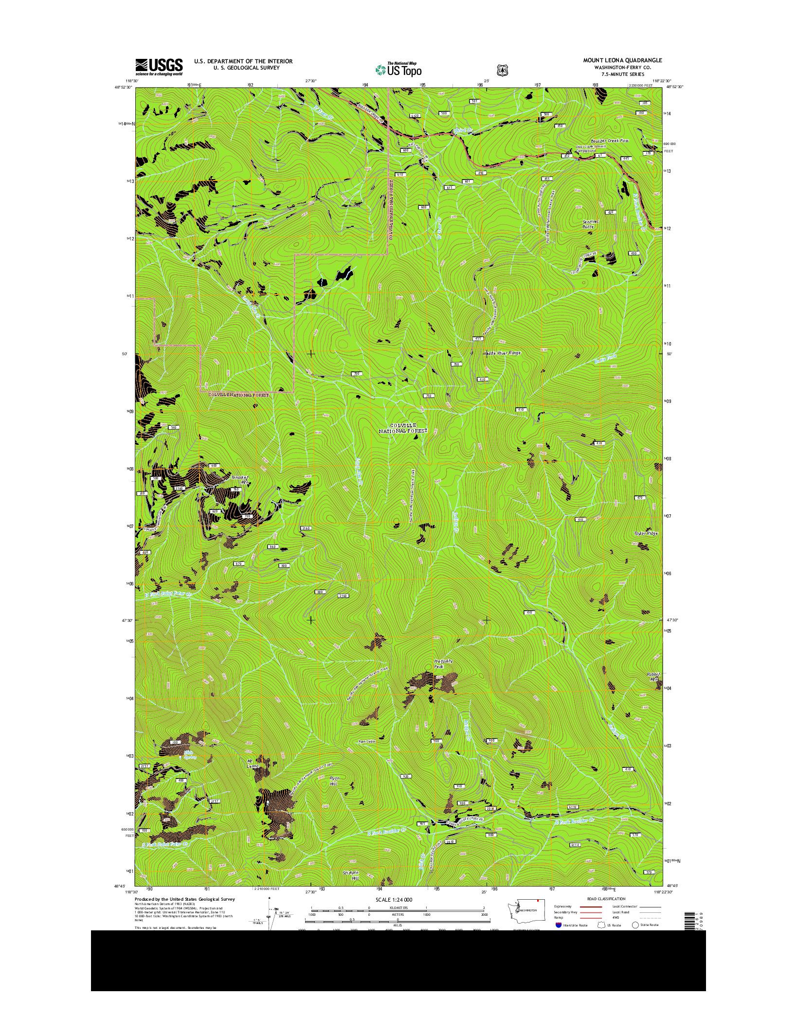 USGS US TOPO 7.5-MINUTE MAP FOR MOUNT LEONA, WA 2014