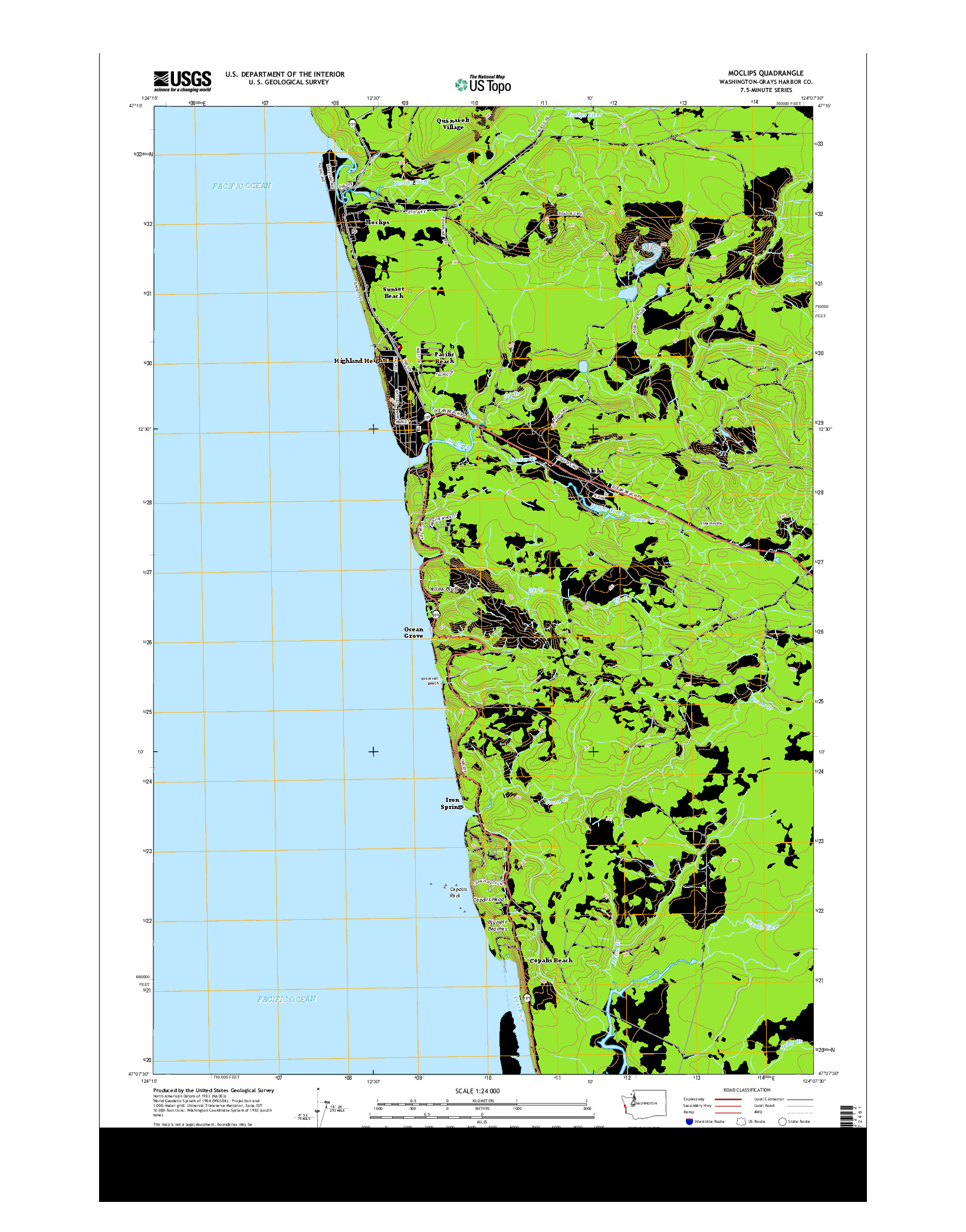 USGS US TOPO 7.5-MINUTE MAP FOR MOCLIPS, WA 2014