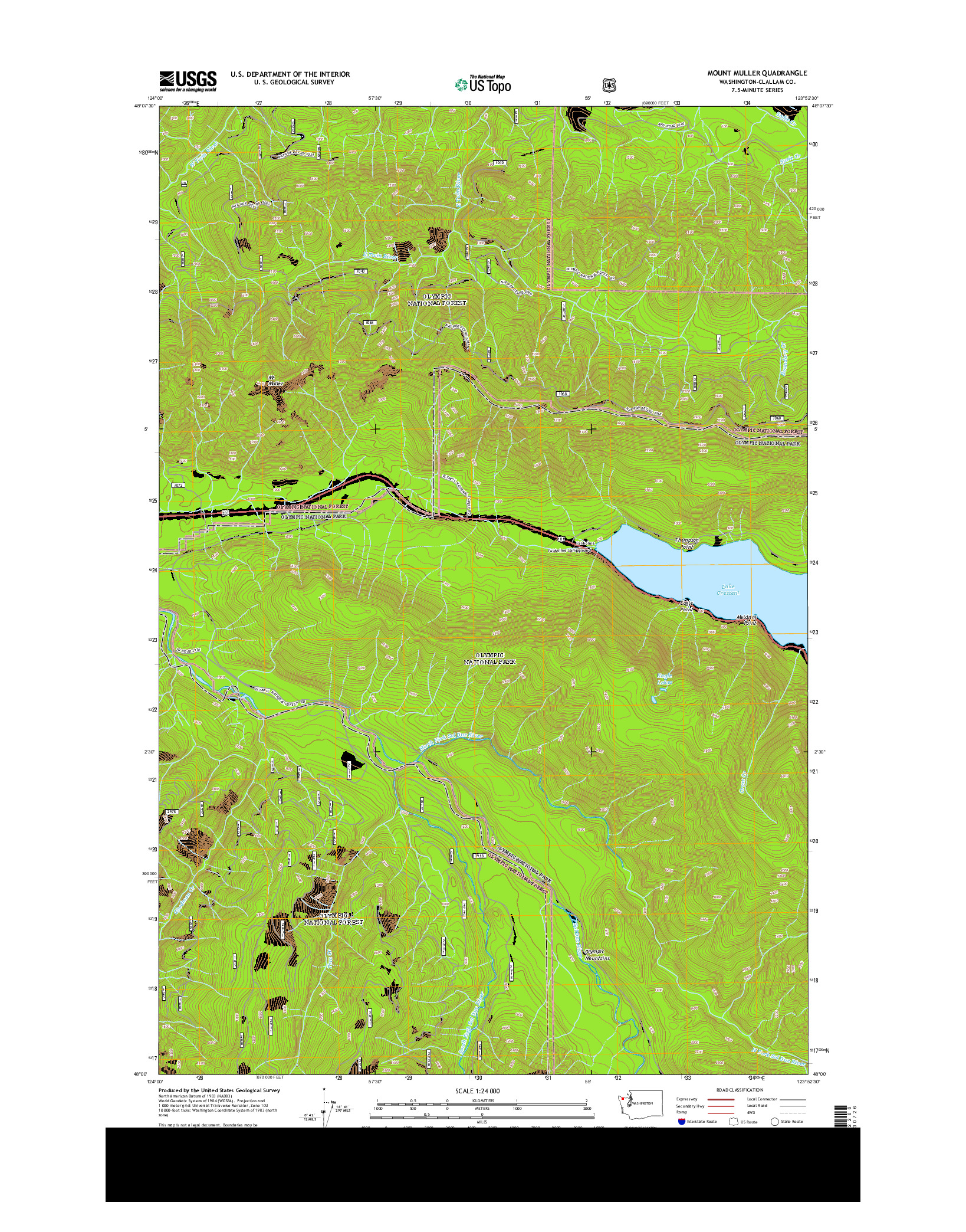 USGS US TOPO 7.5-MINUTE MAP FOR MOUNT MULLER, WA 2014